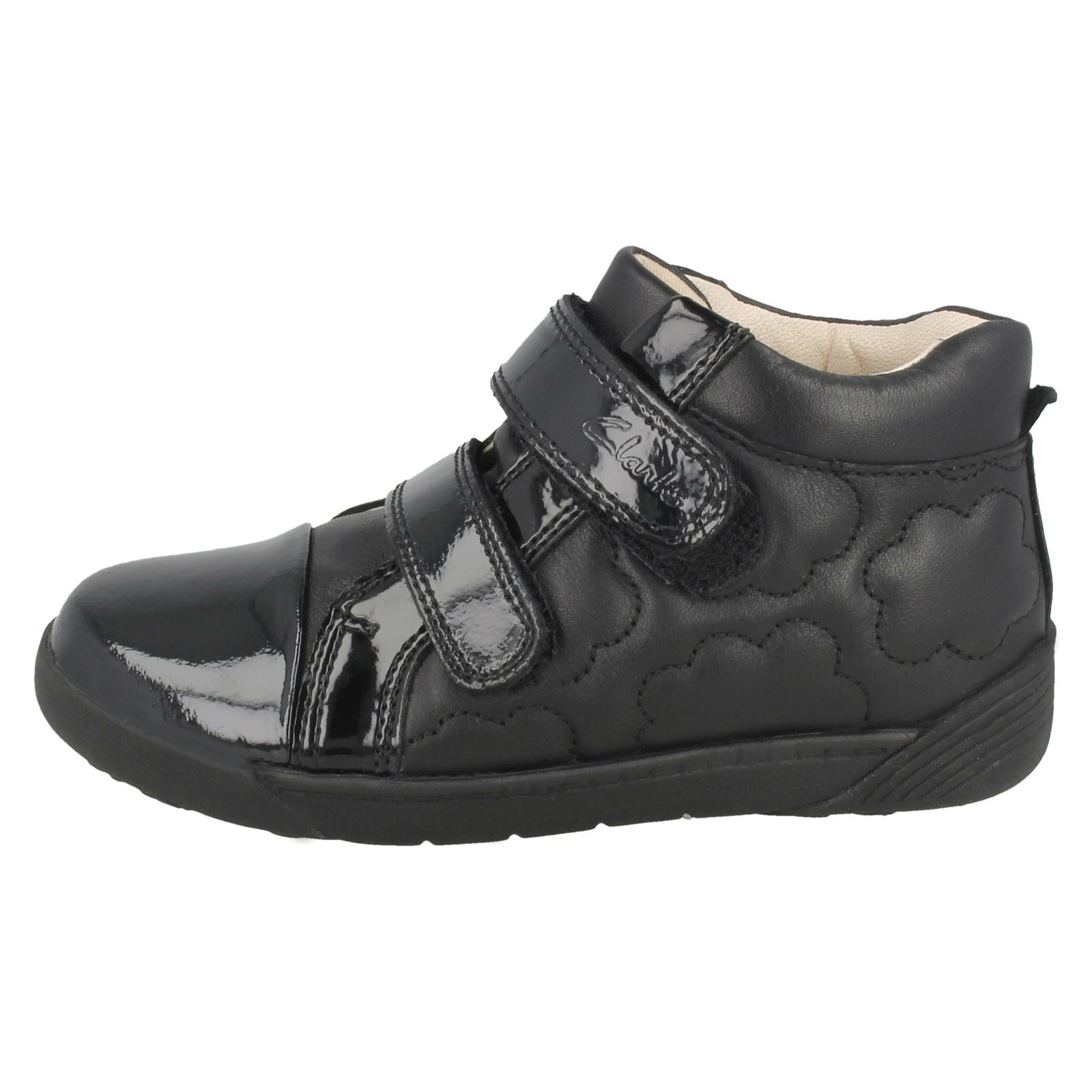 Infant-Girls-Clarks-Hook-amp-Loop-Leather-Patent-