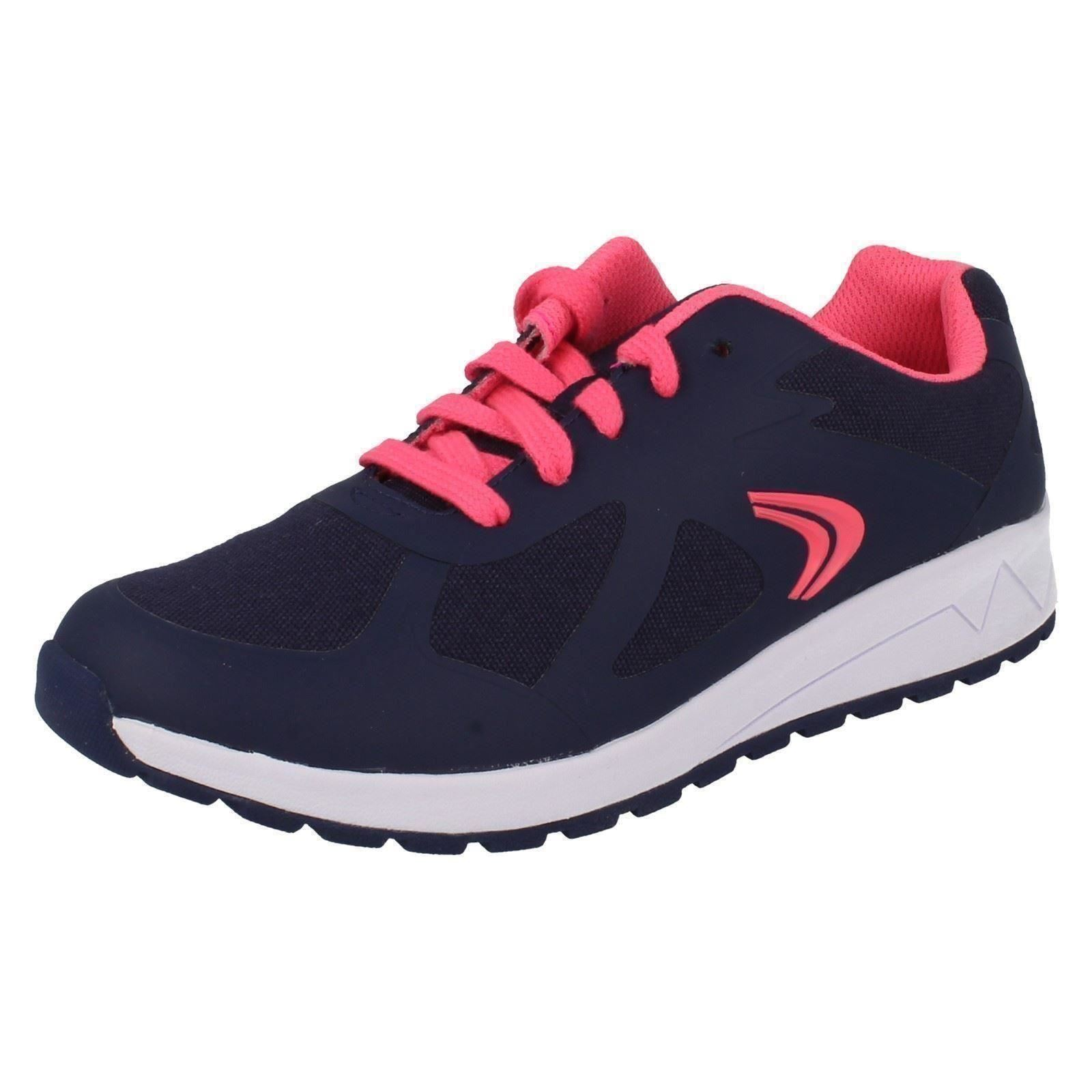 ADVEN MAZE CICA CLARKS GIRLS NAVY COMBI LACE UP LIGHTWEIGHT TRAINERS SHOES SIZE
