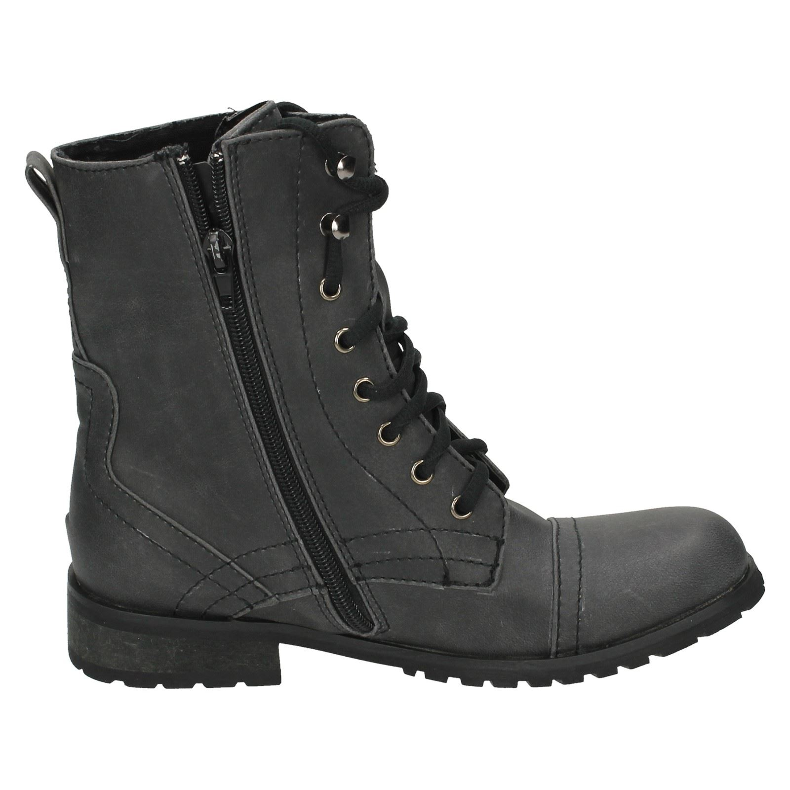 Spot On Low Heel Side Zip With Lace Boot