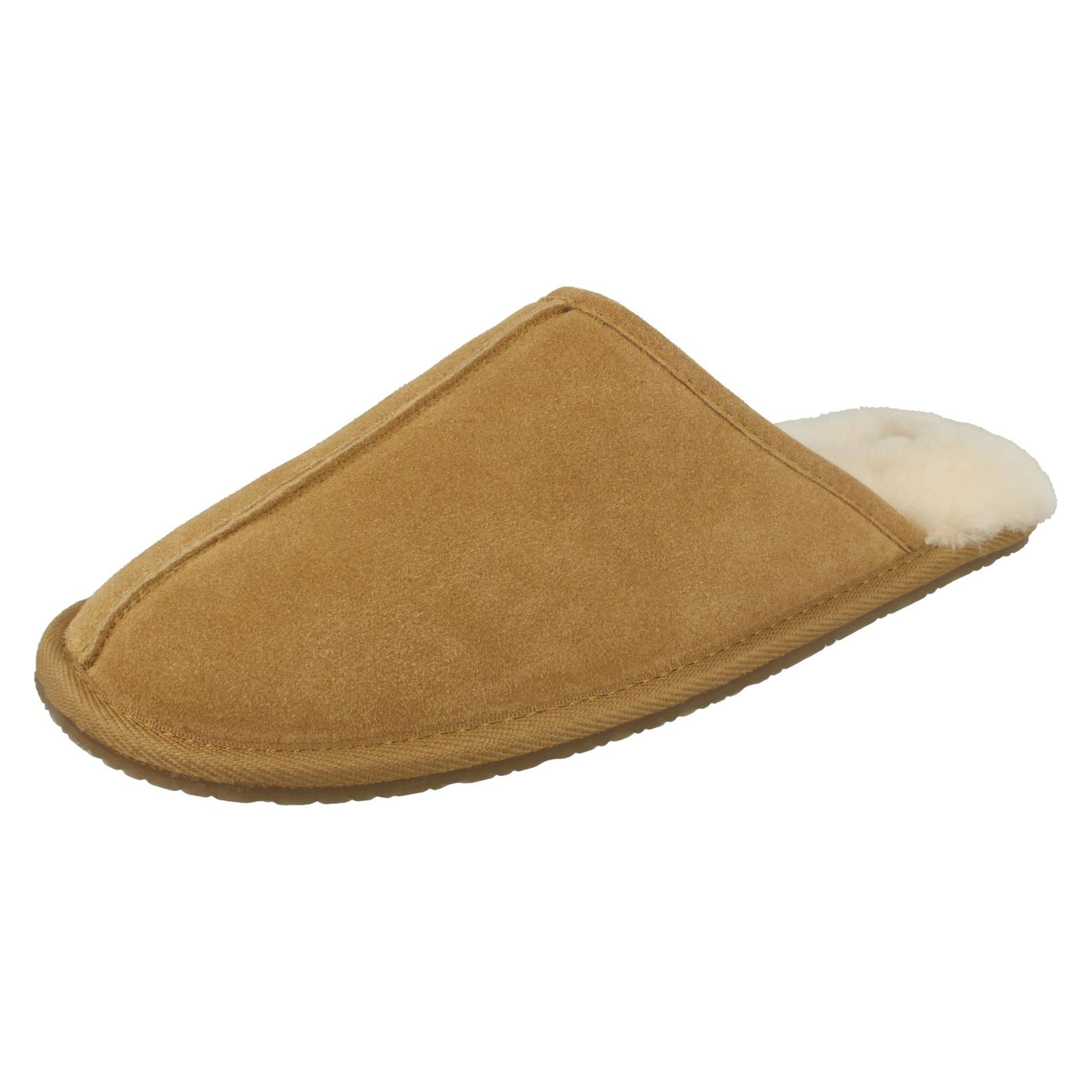 Mens Clarks Suede Leather Warm - Sheepskin Lined Mule Slippers - Warm Crackling Fire 82b41c