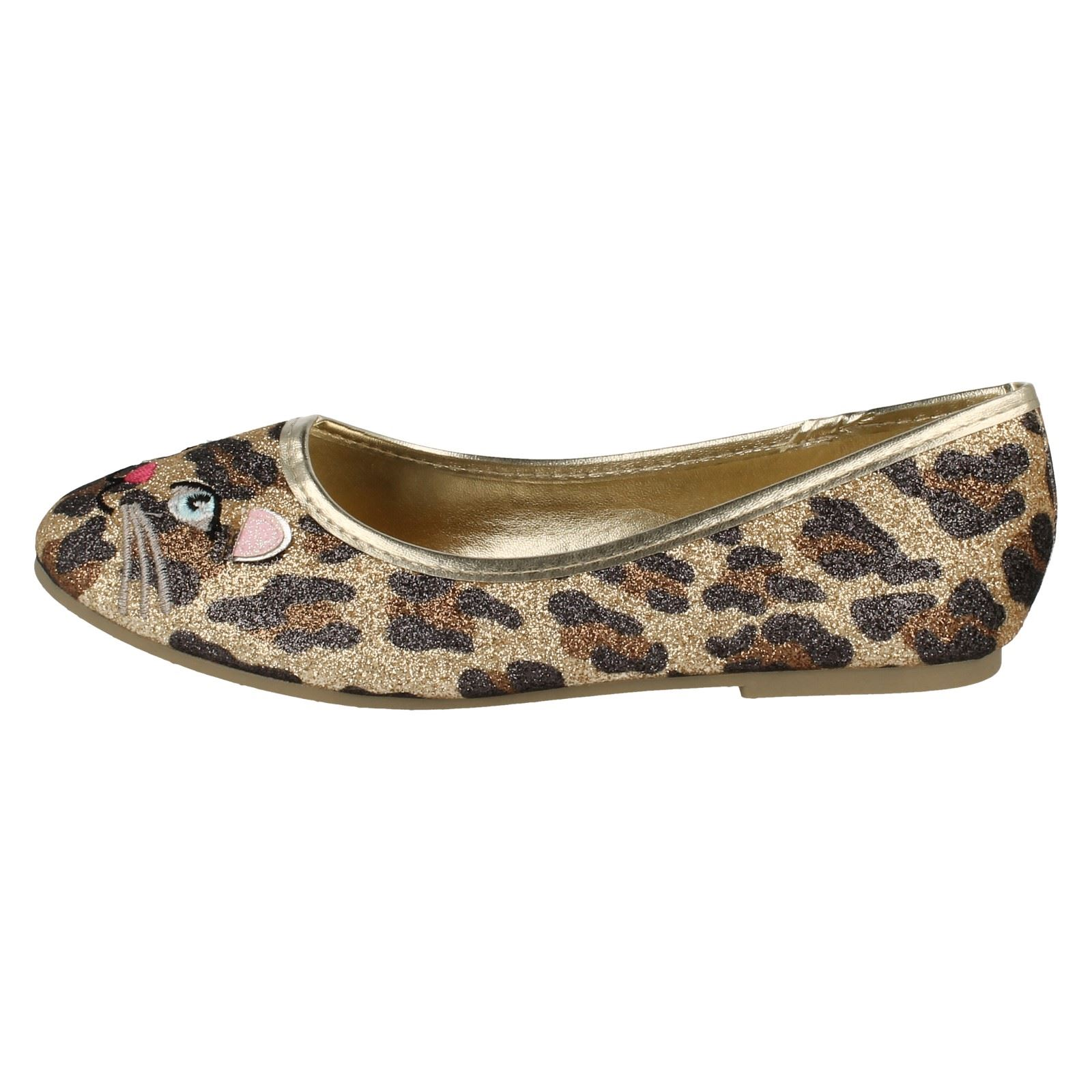 Girls Spot On Slip On Ballerina Dolly Style Flat Shoes With Cat Detail 'H2389'