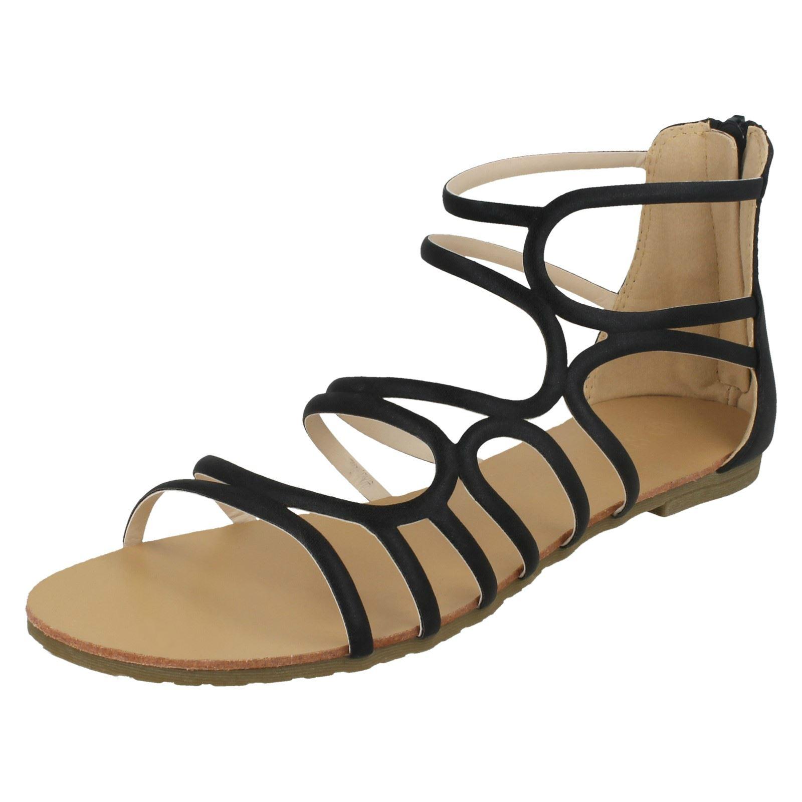 Ladies POSTO sul piatto con spalline argento sandali f00053