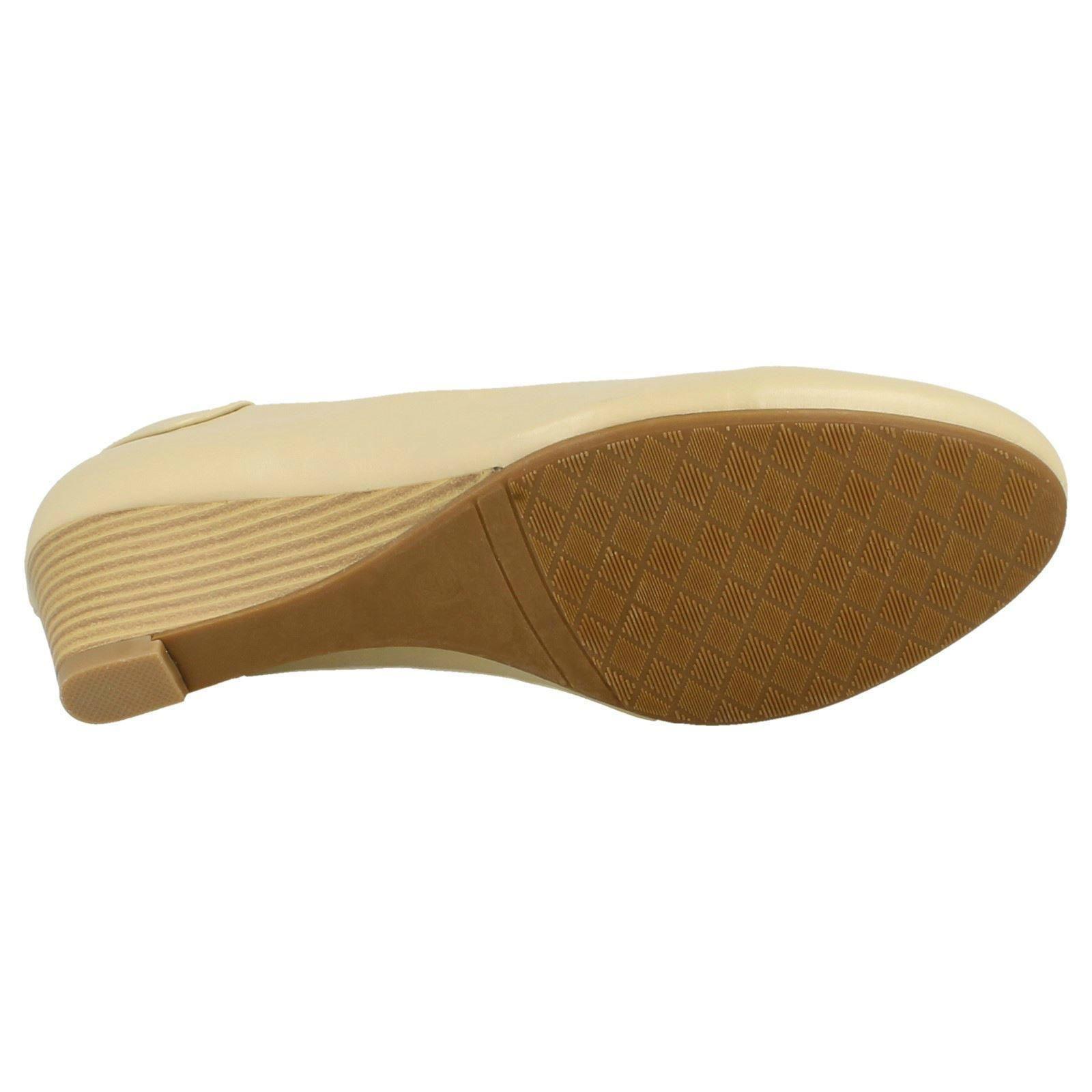 Señoras punto en Tribunal Zapatos De Cuña Baja * F 9806 *