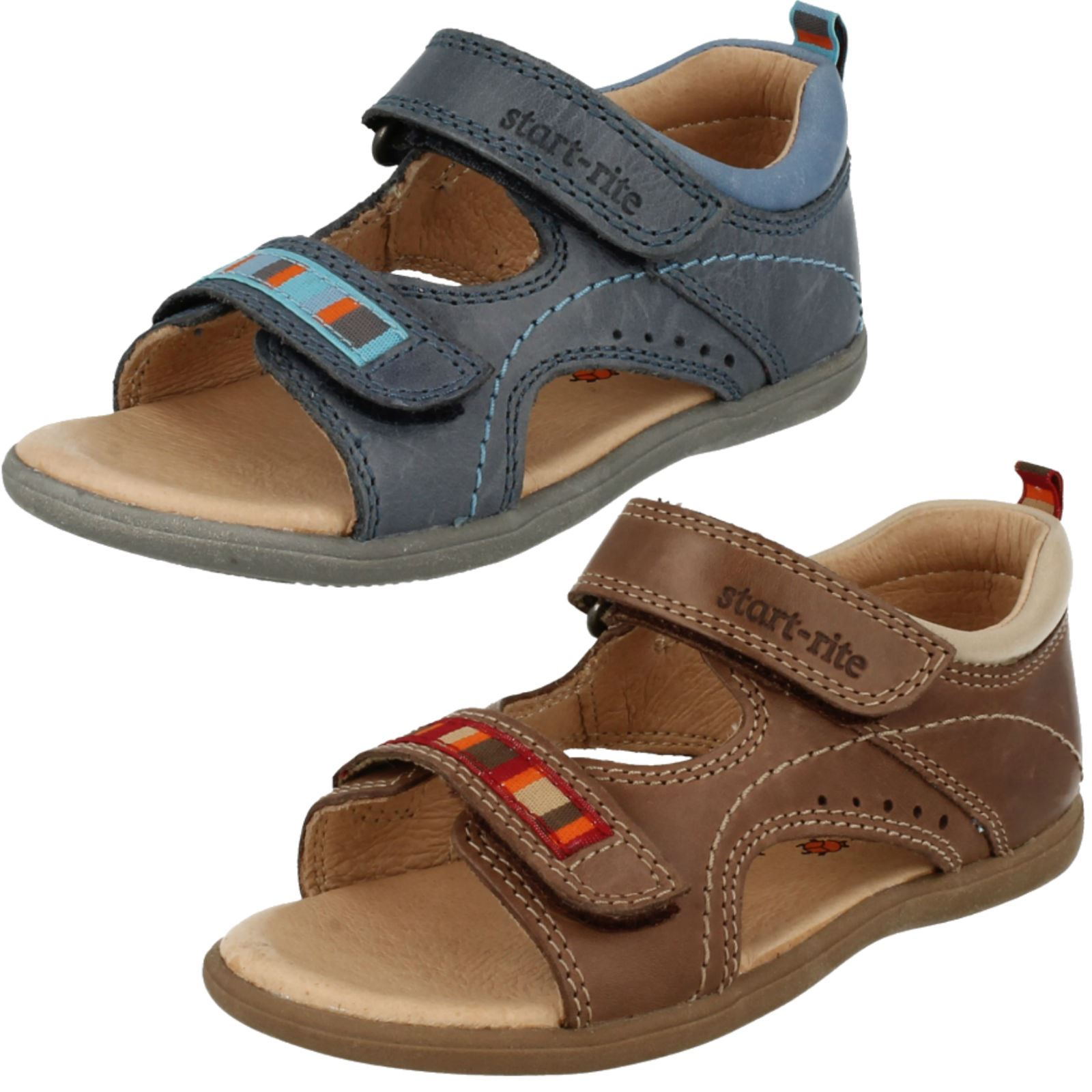 Startrite /'Climb/' Boys Blue Leather Upper and Lined Sandals F Fit