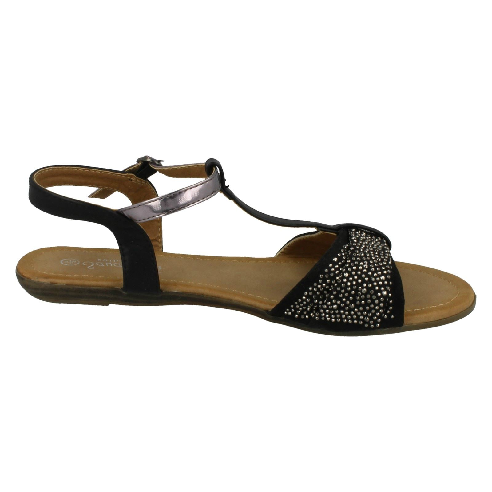 Details about Savannah Ladies T Bar Beaded Bow Vamp Sandals