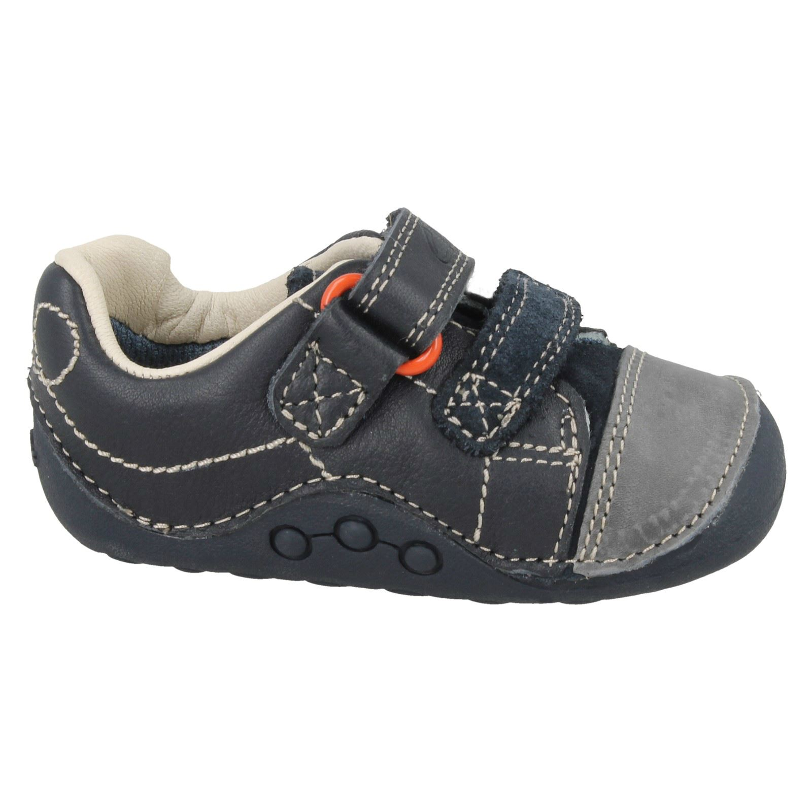 Clarks Tiny Jet- Boy's Cruising Shoe in Navy Leather Navy