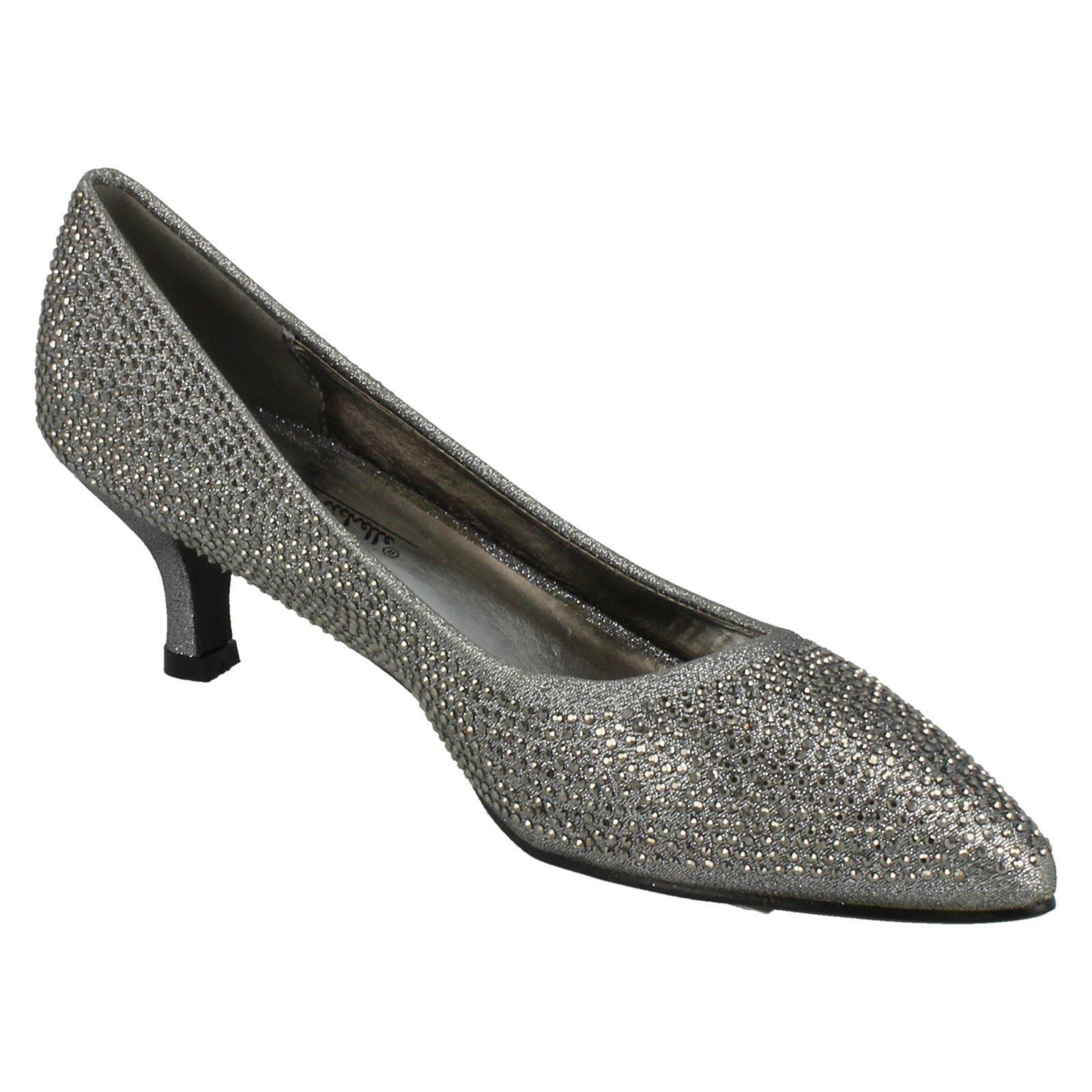 Ladies-Anne-Michelle-Diamante-Low-Heel-Court-Shoes thumbnail 27
