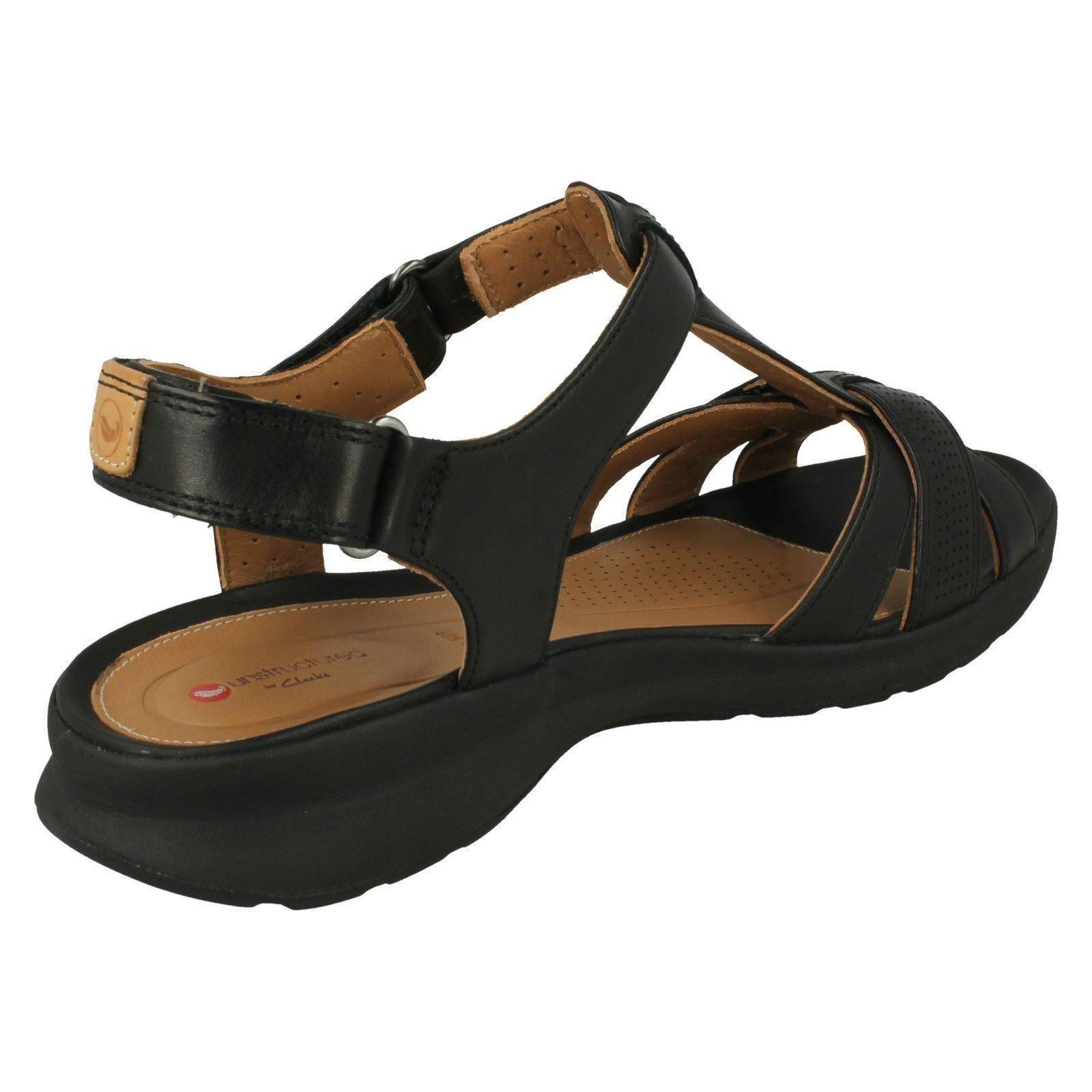Details about Ladies Clarks Unstructured Wide Fit Hook & Loop Leather Sandals Un Adorn Vibe
