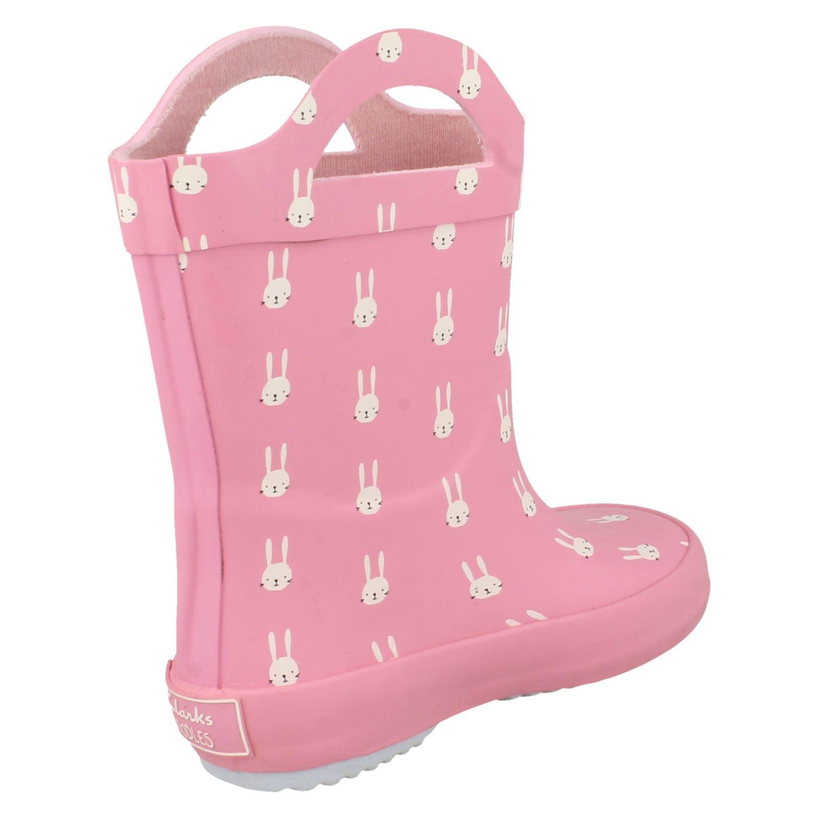 Girls Clarks Casual Rabbit Print Wellington Boots Tarri Paws