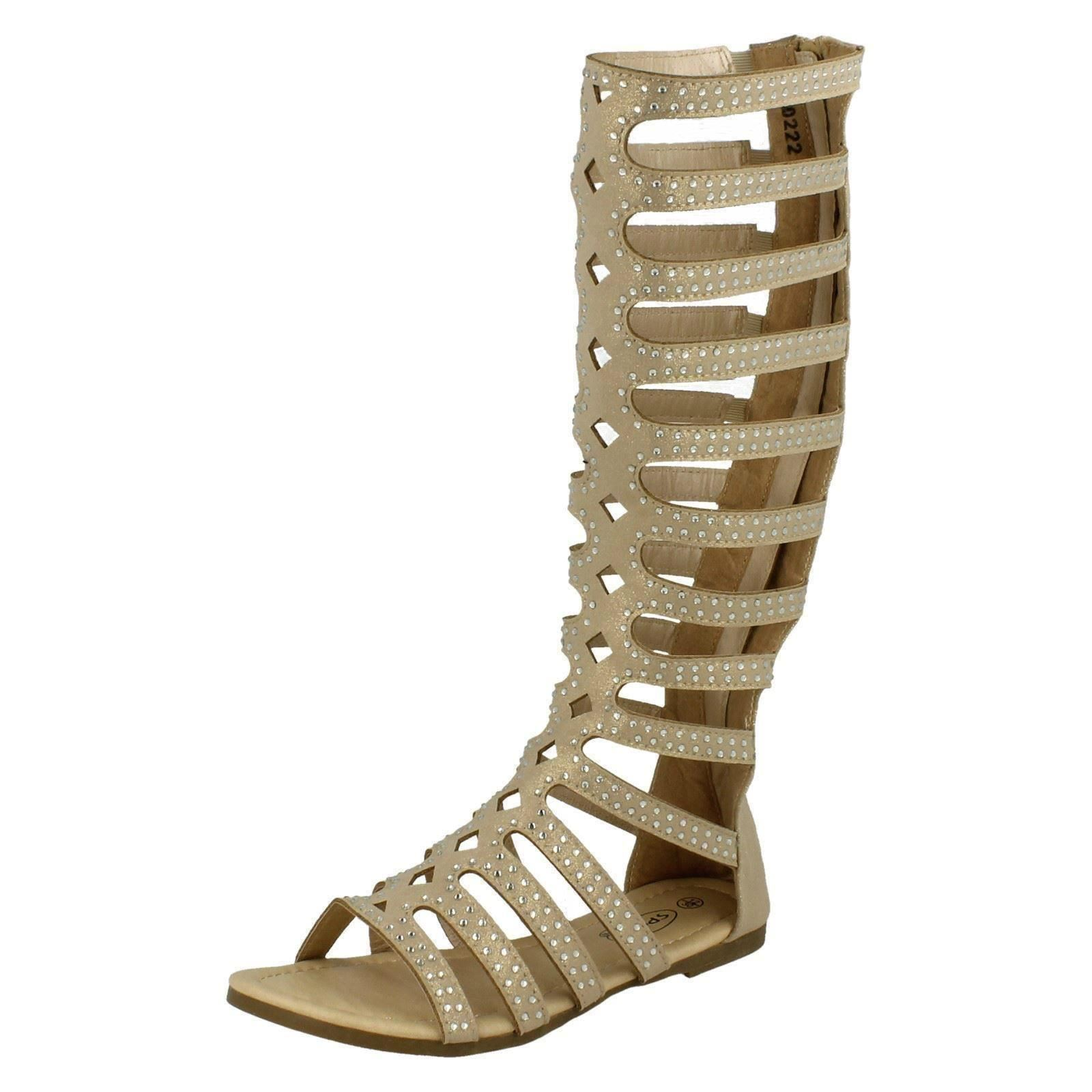 Girls Spot On Knee High Gladiator Sandals - H0222