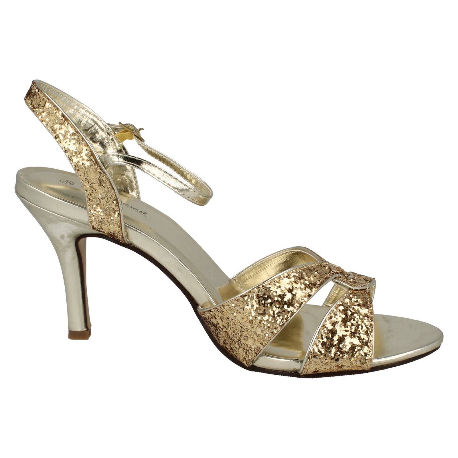 Ladies-Anne-Michelle-Cross-Over-Glitter-039-Heeled-Sandals-039