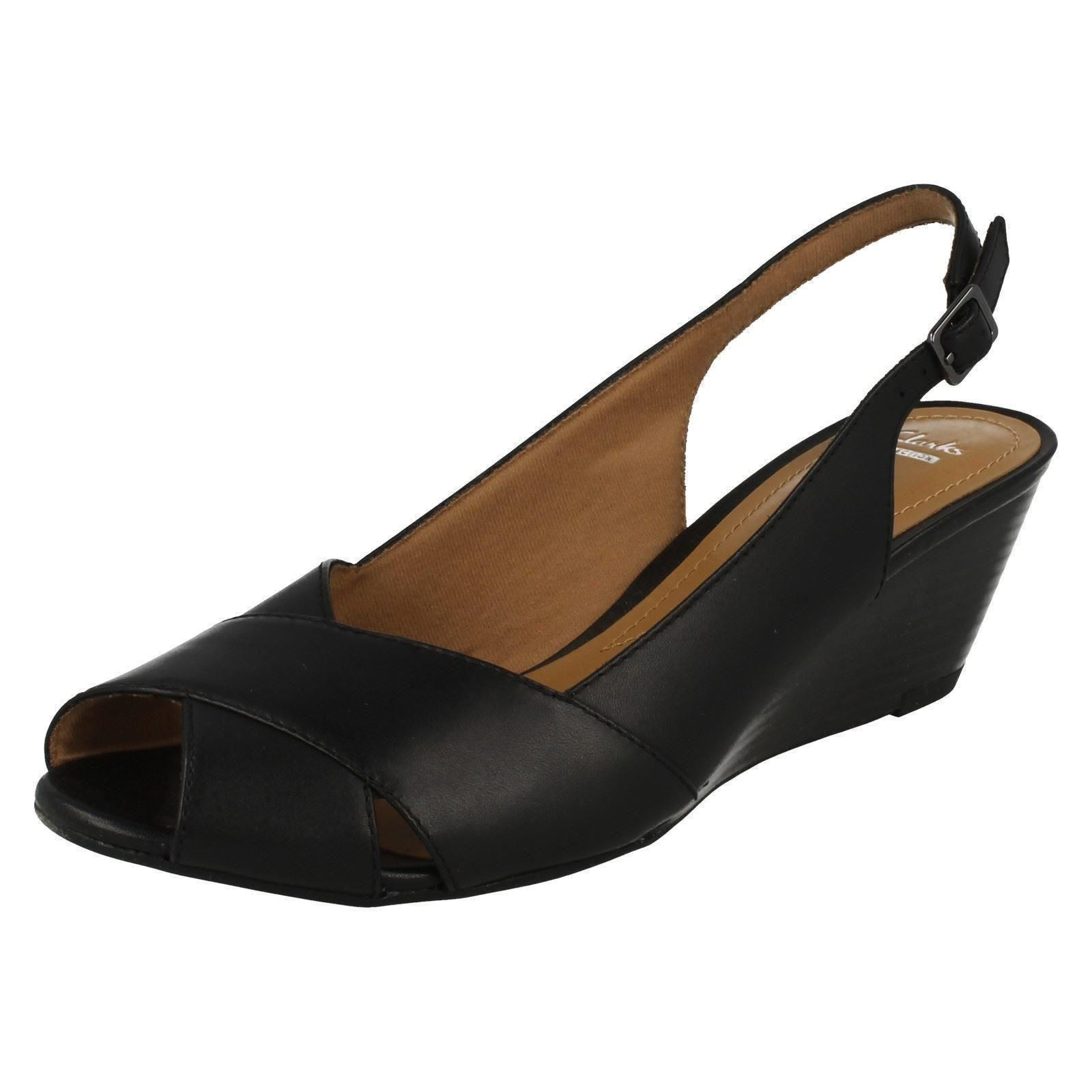 759f2d016 Ladies Clarks Black Leather Sling Back Wedge Sandal Style - BRIELLE Kae UK  4. About this product. Picture 1 of 10  Picture 2 of 10 ...
