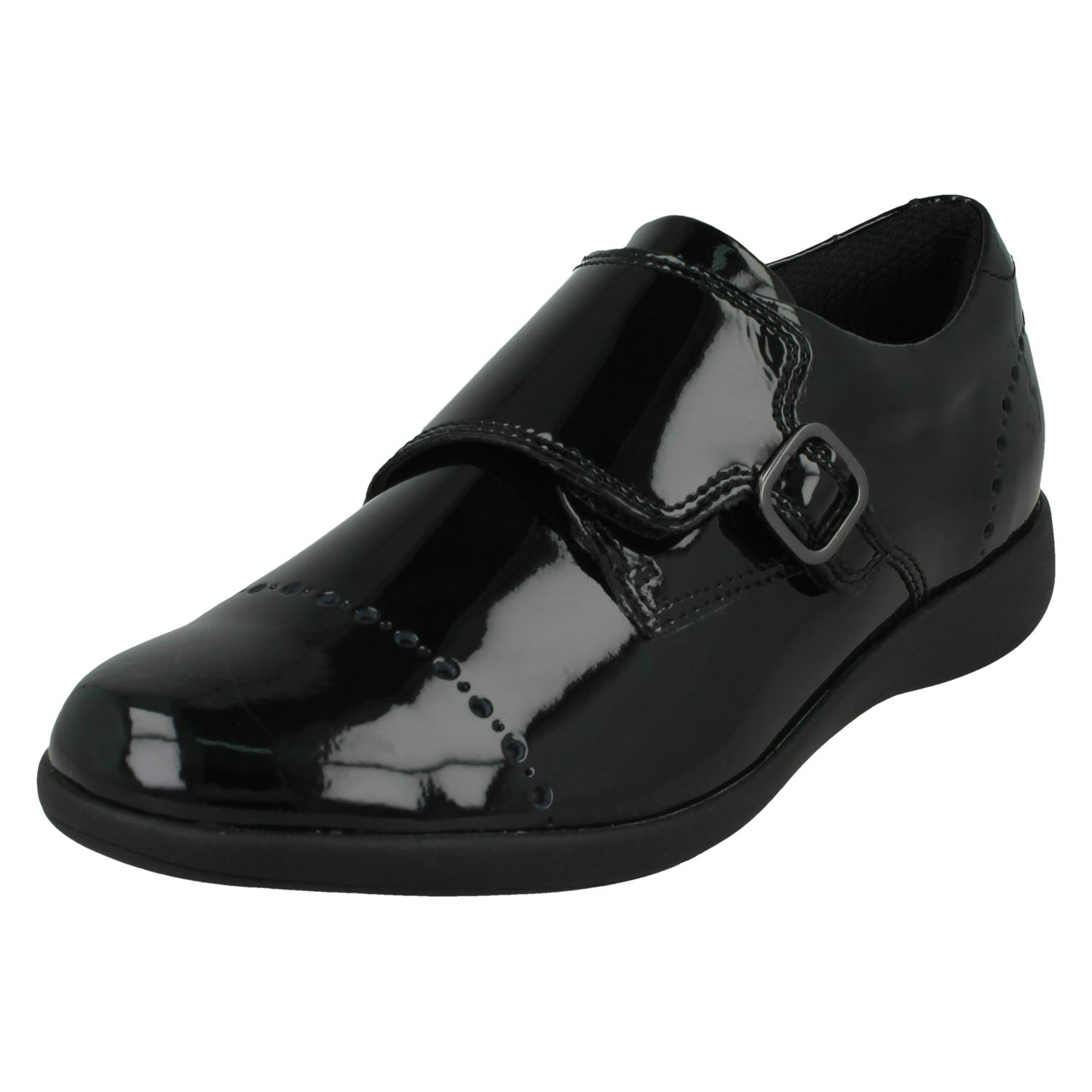 Girls Clarks Formal Hook /& Loop Patent//Leather School Shoes Etch Spark