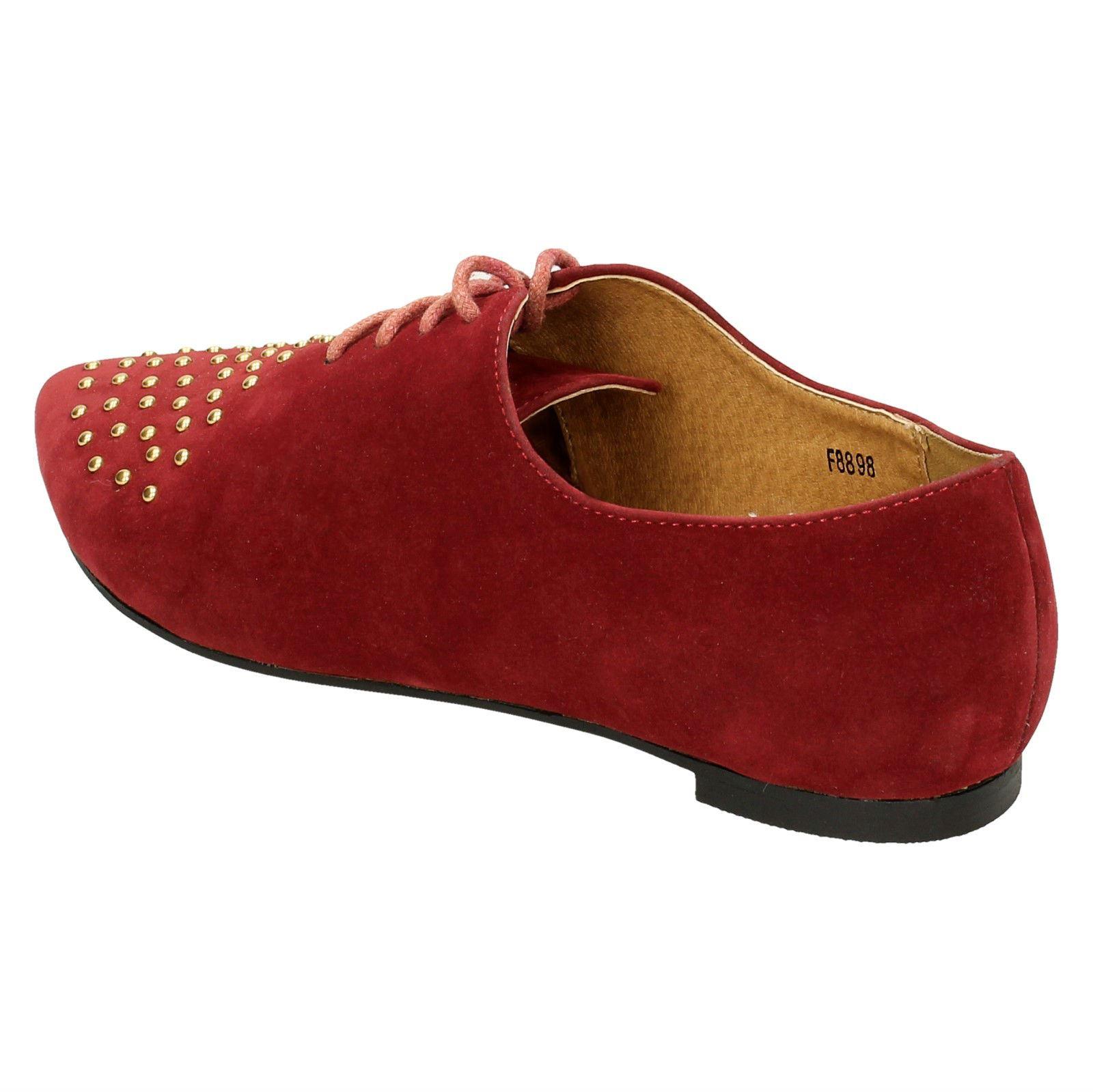 Damas Spot on Flat Con Cordones Zapatos Con Puntera En Punta