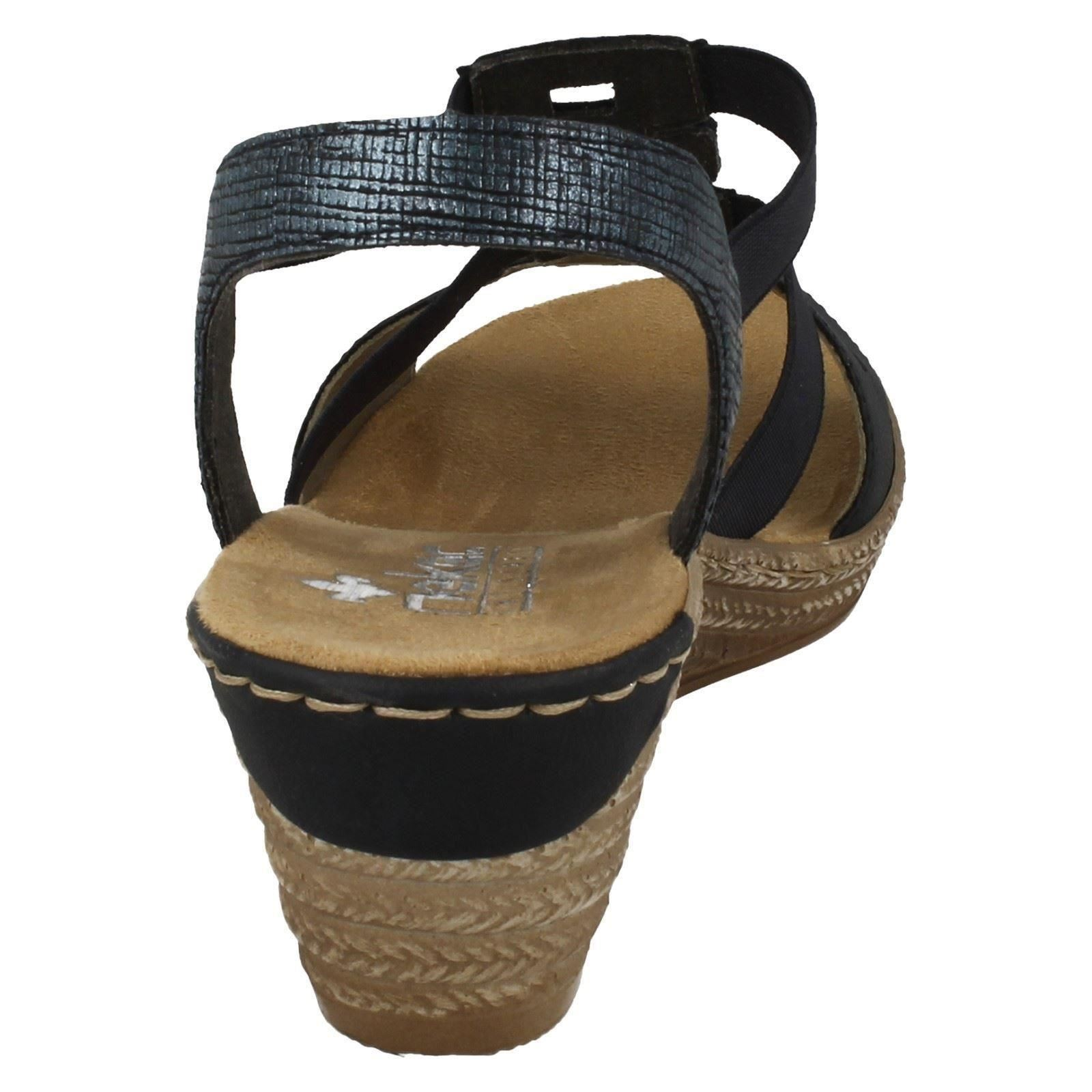 Último gran descuento Ladies Rieker Wedge Heeled Open Toe Sandals 62488