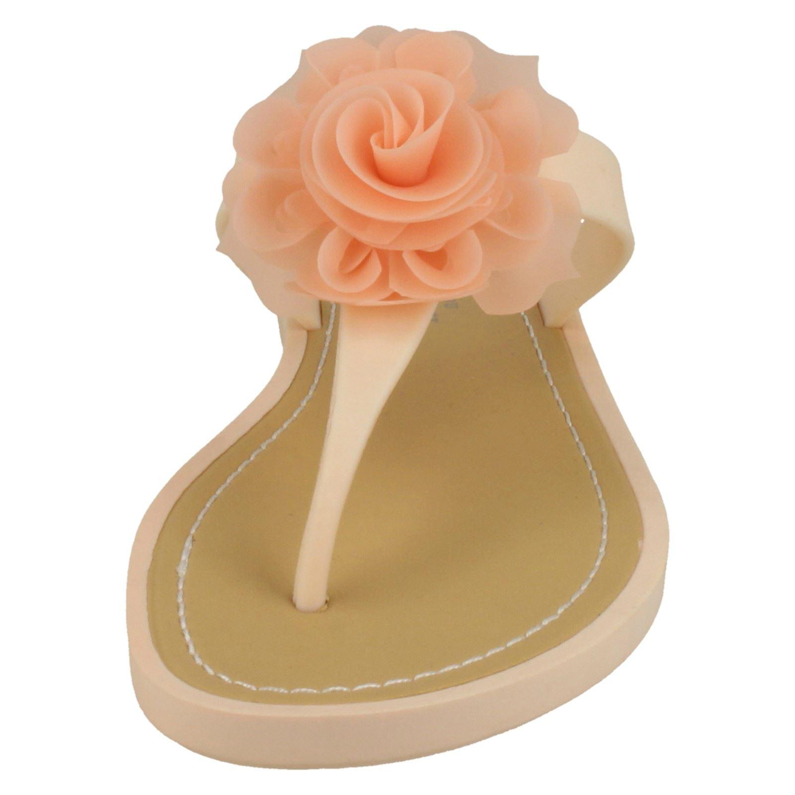 Damas Savannah Sandalias Planas Toepost rosa trim