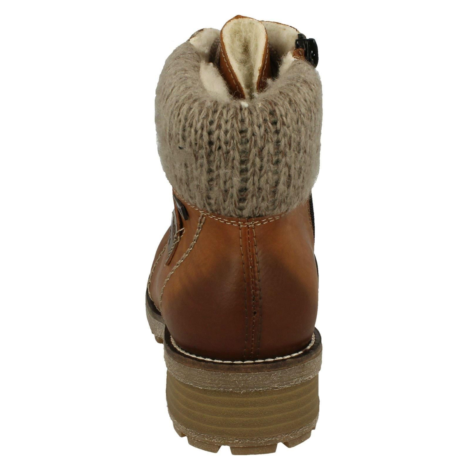 Brown Combination Cuff Ankle Rieker Z0444 marrone Ladies Boots Knitted 1a6xRSz