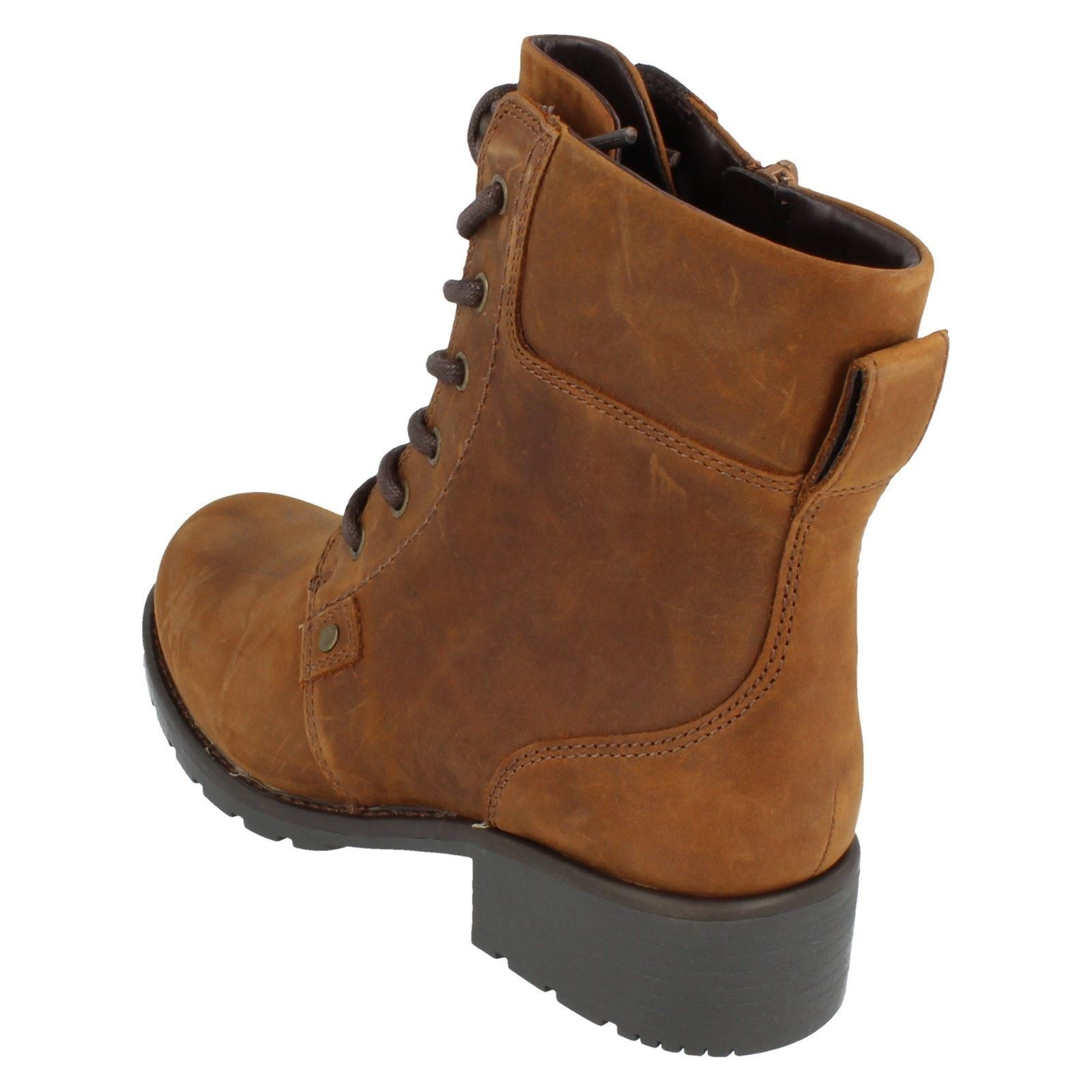 Ladies-Clarks-Casual-Lace-Up-Inside-Zip-Nubuck-Leather-Ankle-Boots-Orinoco-Spice thumbnail 13