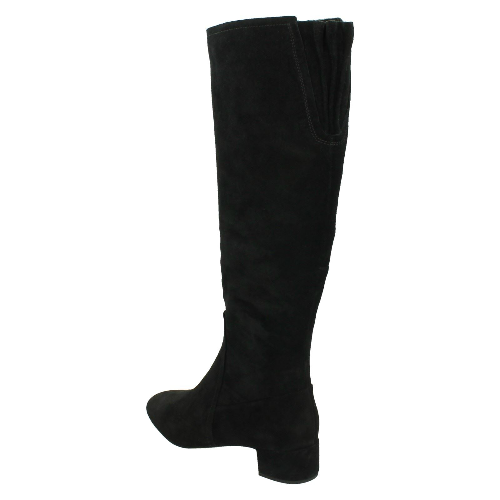 BNIB Clarks Ladies Orabella Ava Black Suede Knee High Boots