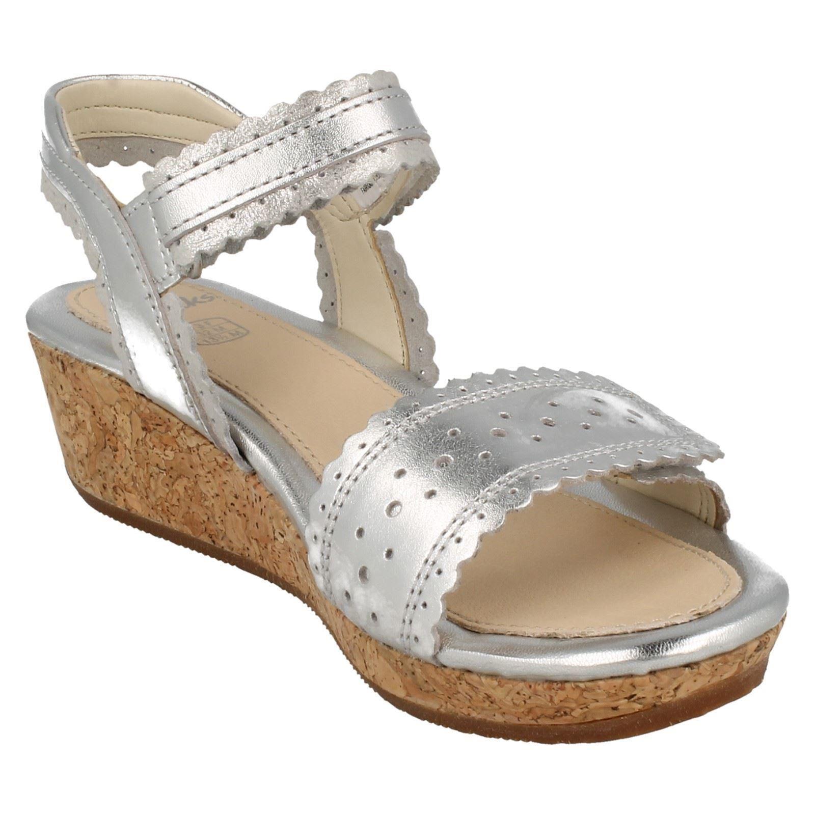 Details about Girls Clarks Harpy Myth Wedge Heel Summer Sandals