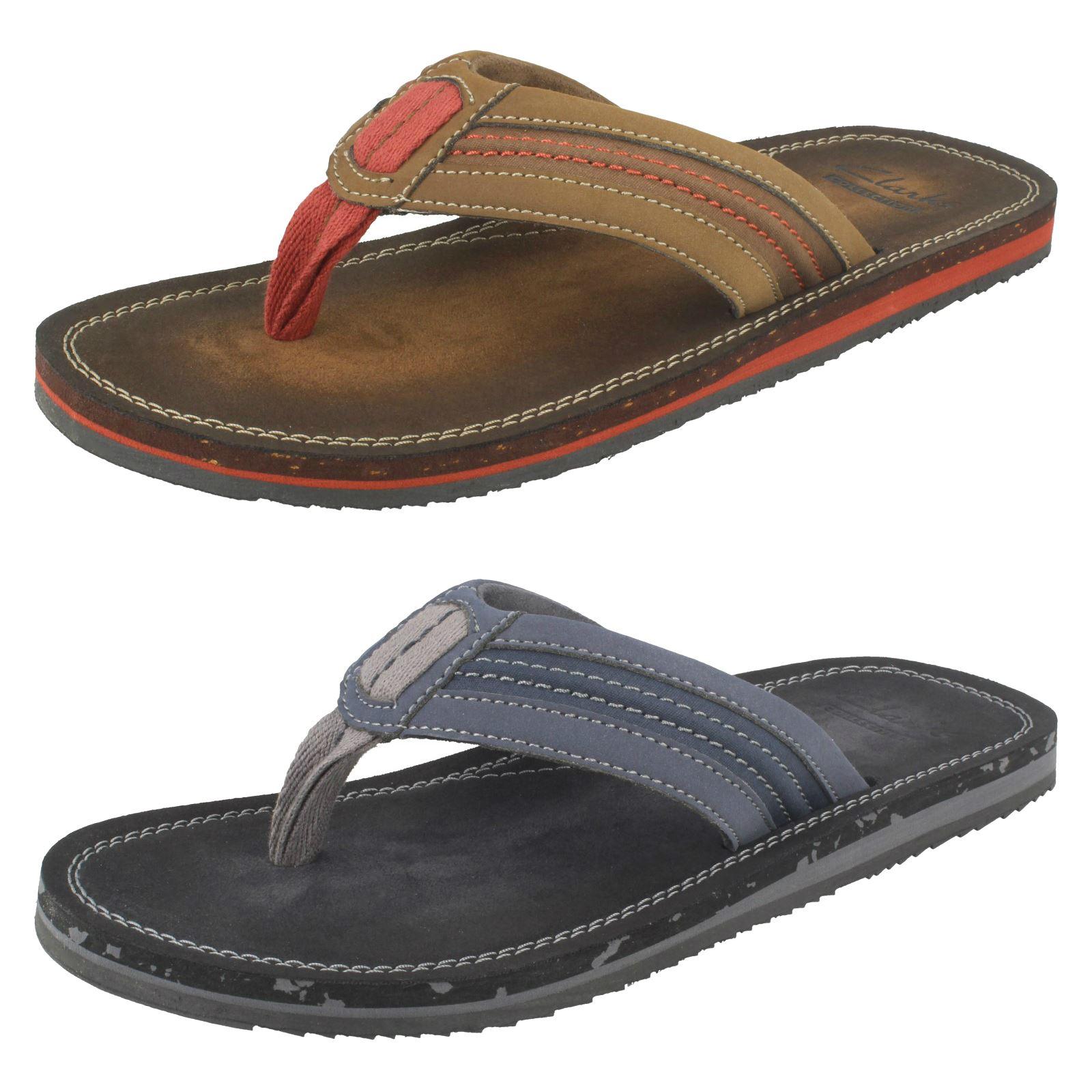 Details about Mens Clarks Flip Flops Toe Post Sandals  Riverway Sun