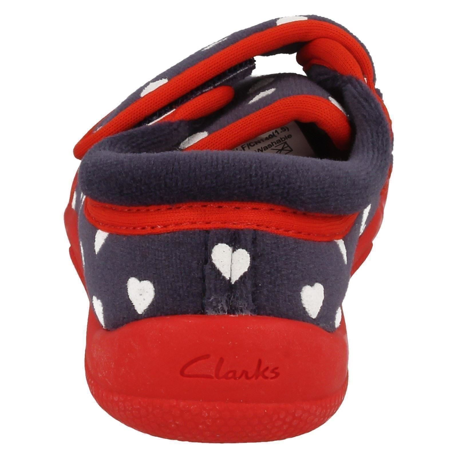 Girls Clarks Heart Print Slippers - Cuba Elle