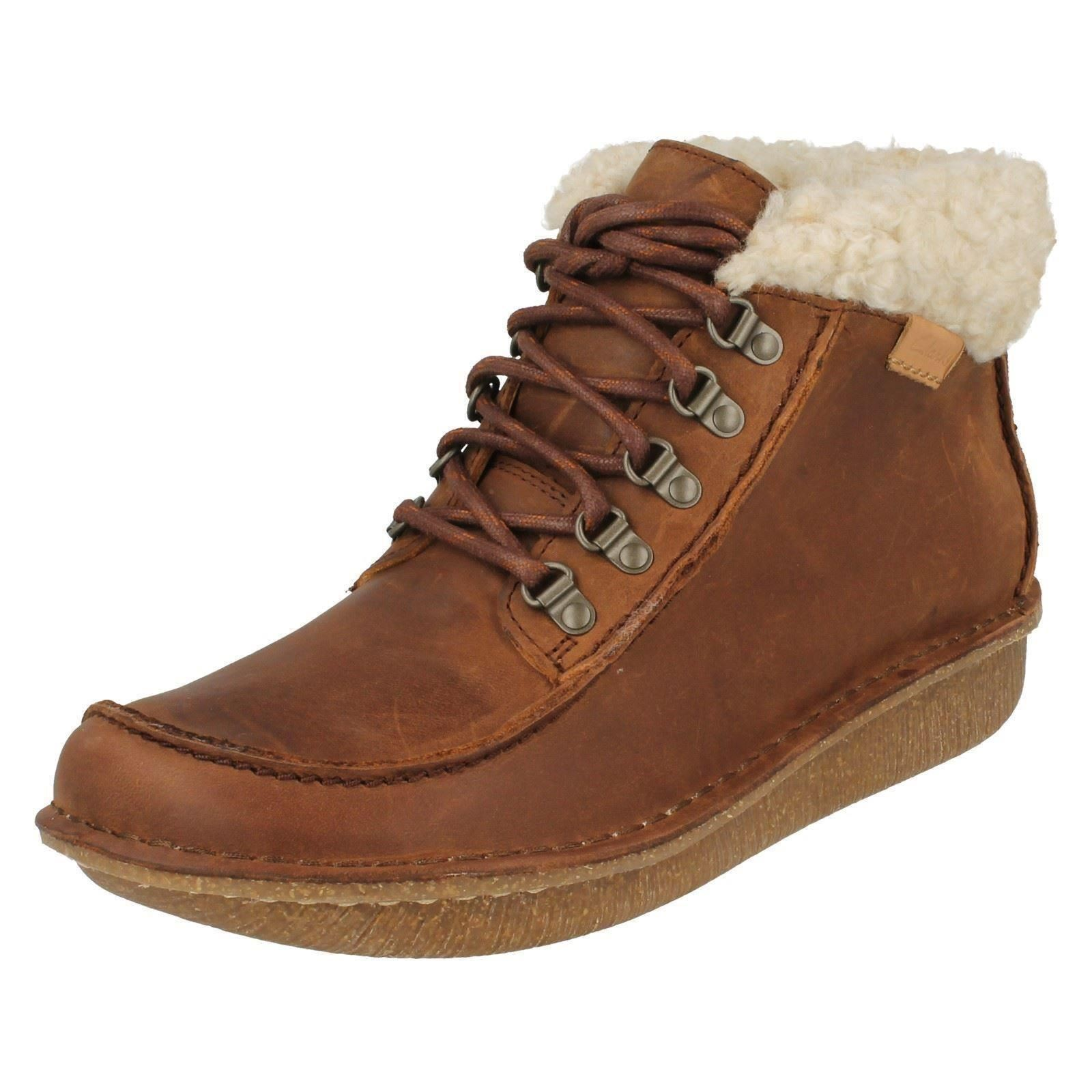 Details about Clarks Ladies Fur Top Ankle Boots Funny Girl