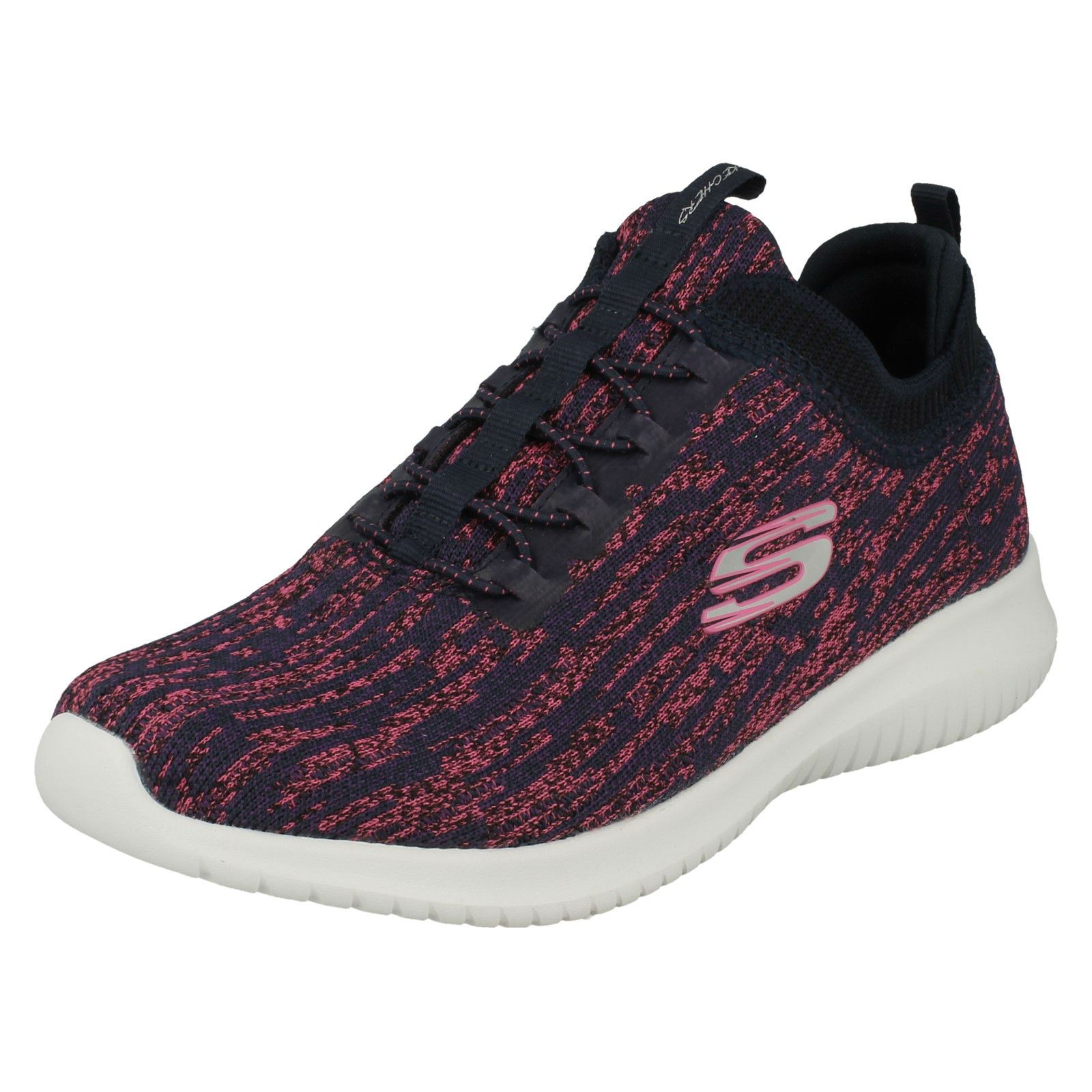 b0bde36403e Ladies Skechers Rounded Toe Casual Slip On Textile Trainers Bright Horizon