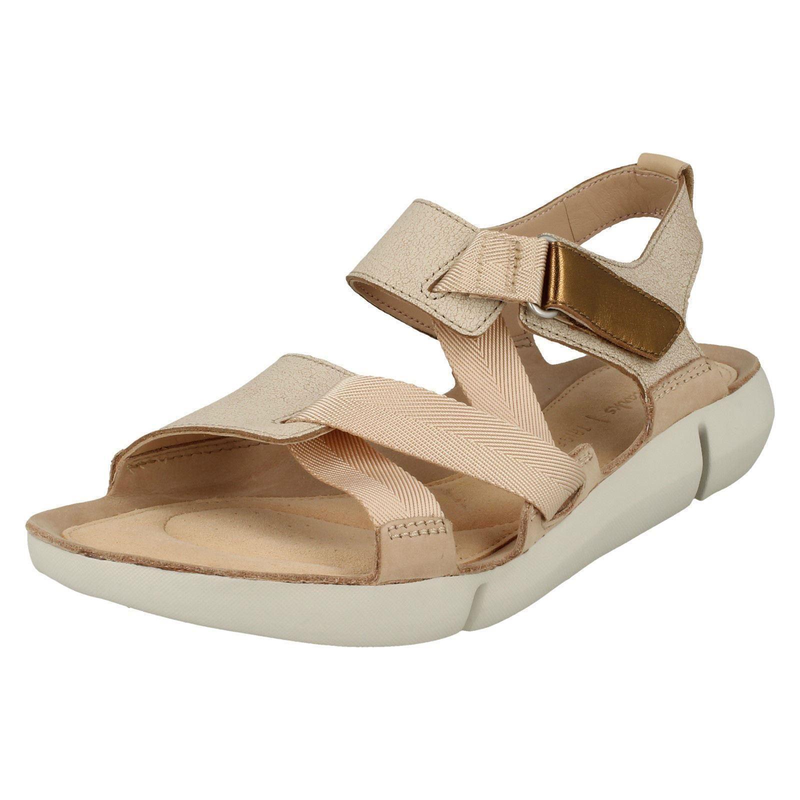 Tri Clover, Sandali con Cinturino alla Caviglia Donna, Beige (Sand Combi), 36 EU Clarks