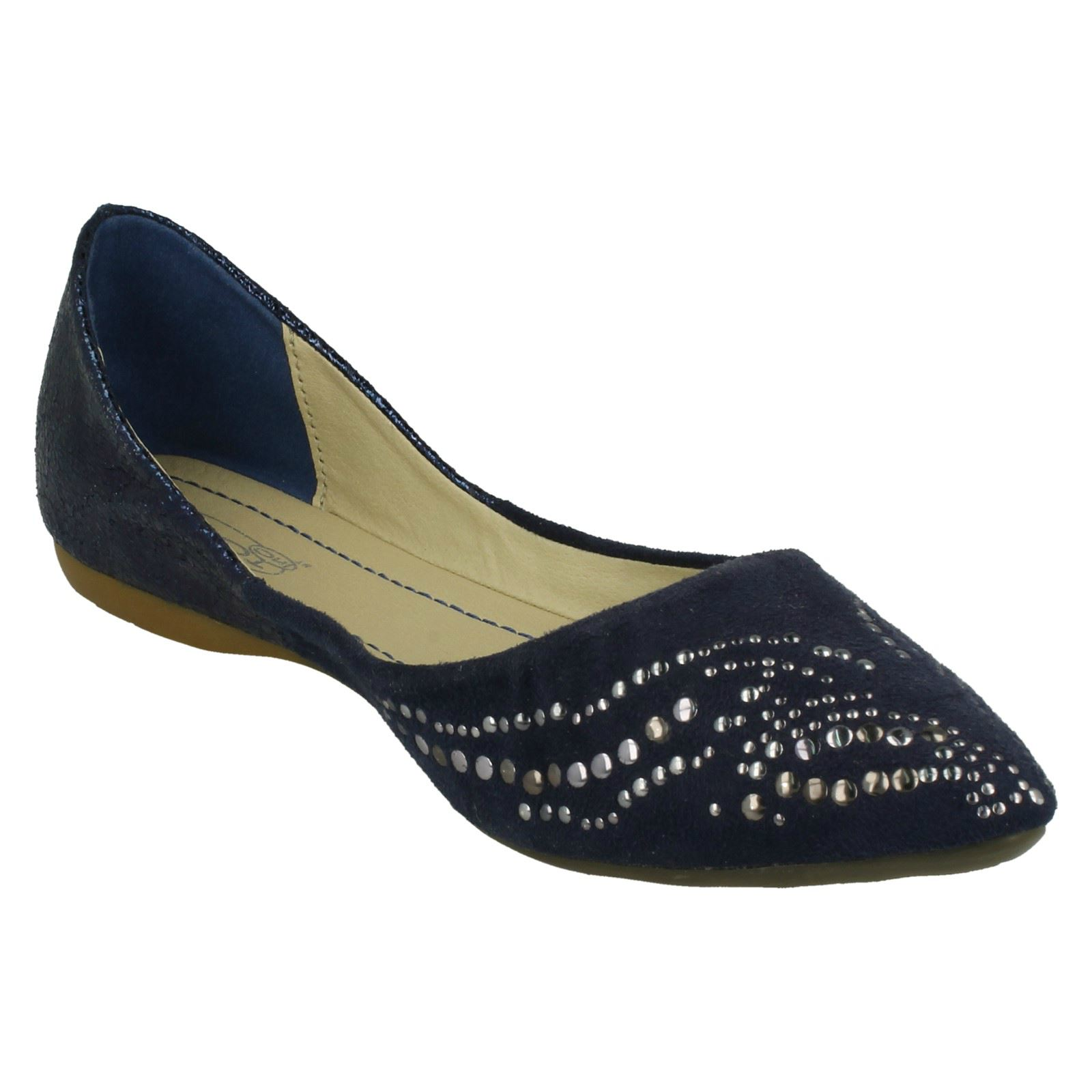 Ladies Spot On Flat Pointed Toe Studded *Design Ballerina*