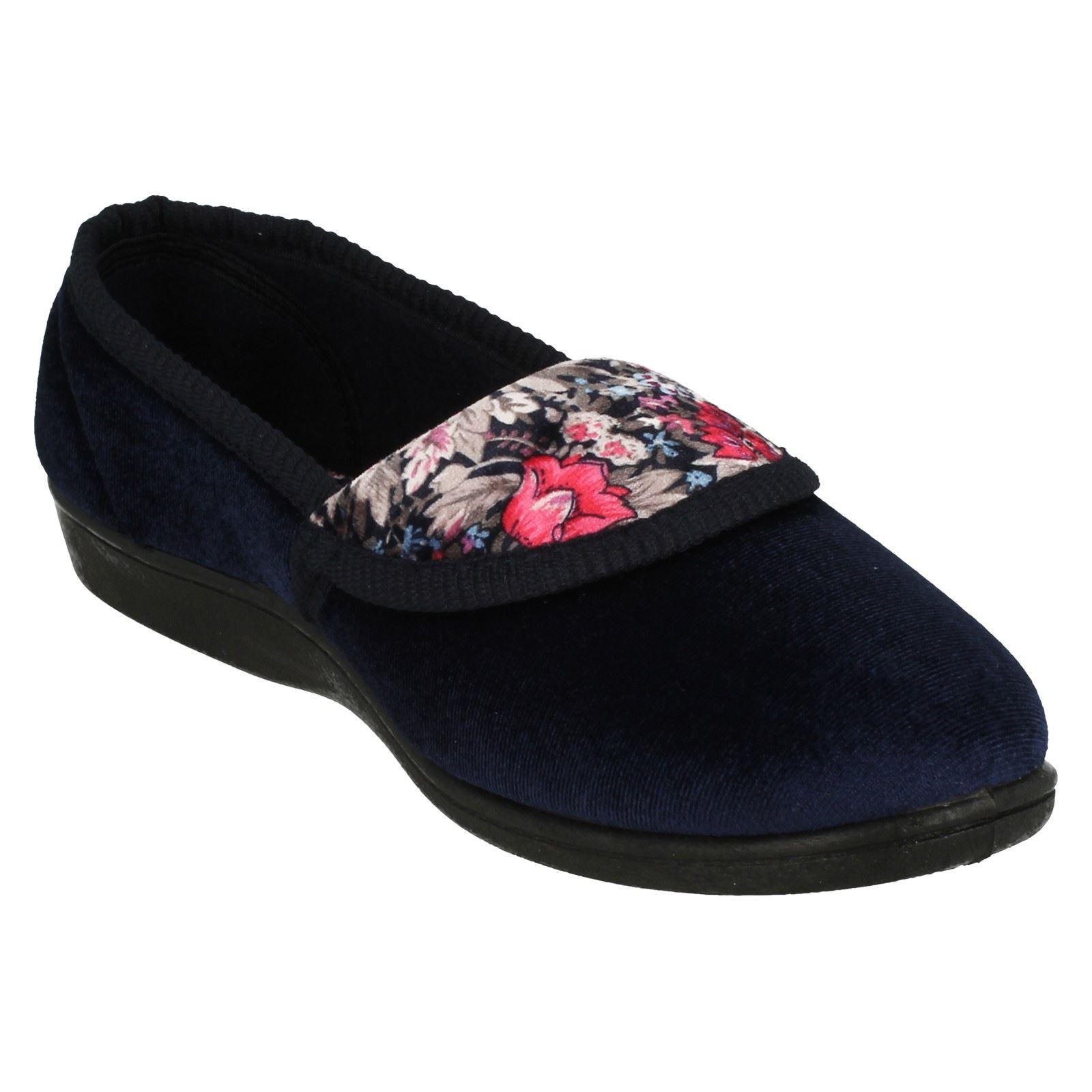 Señoras punto en calidad Zapatillas Patrón Floral Zapatillas LS40