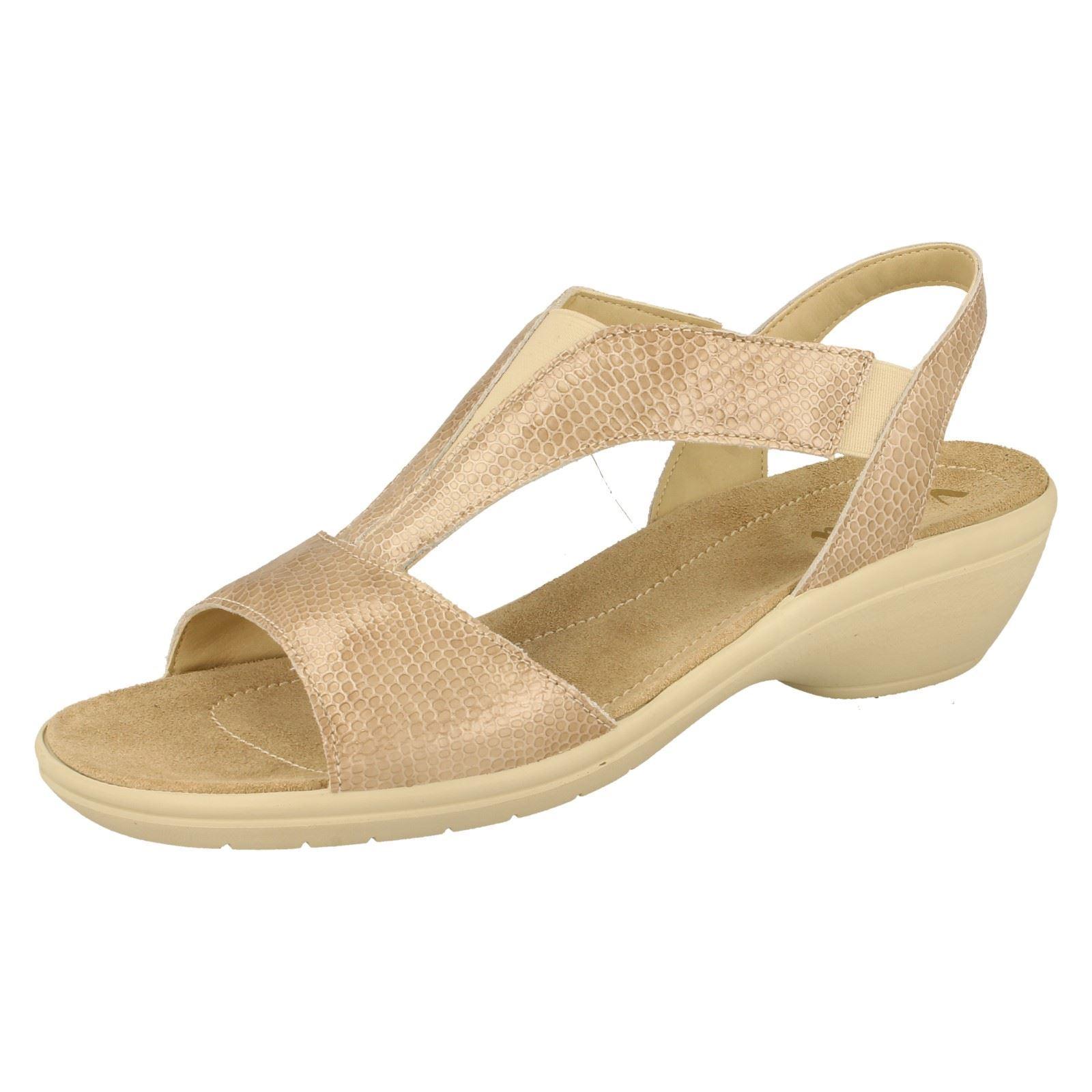 Ladies Van Dal Beige Lizard Patent Sandal Size 7 UK