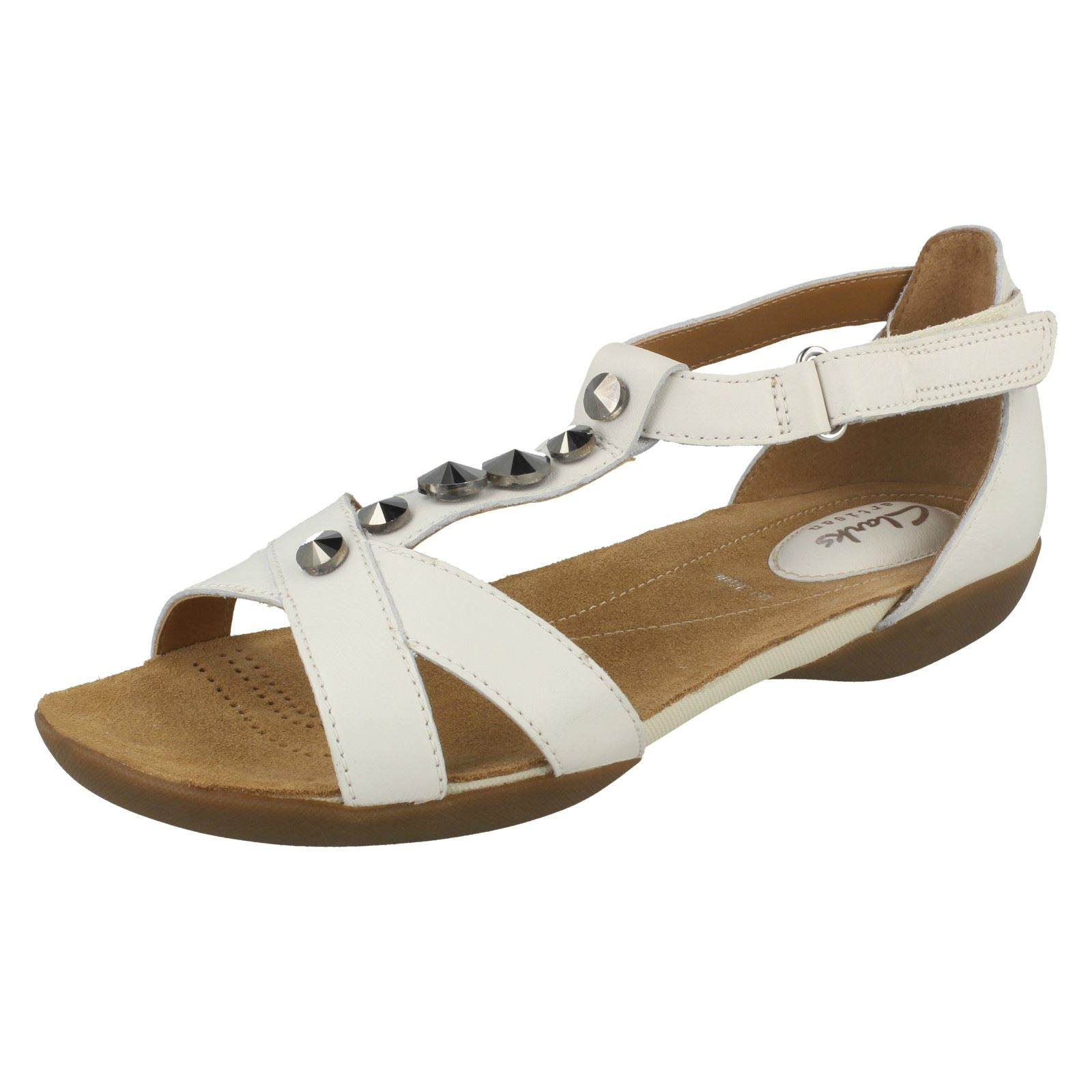 Ladies Clarks T Bar Flat Sandals 'Raffi Scent'
