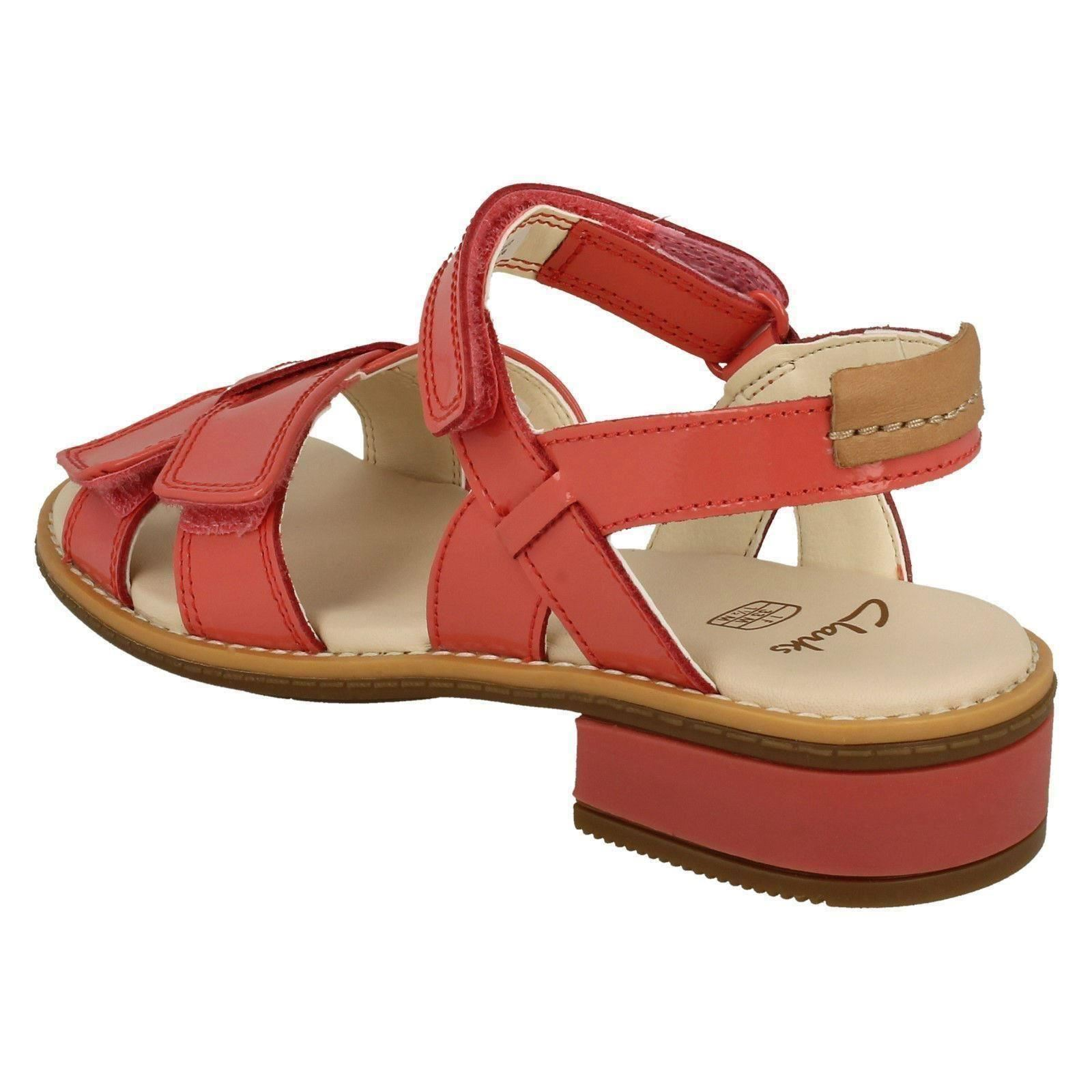 3908d830db0 Girls Clarks Patent Leather Casual Sandals Style - Darcy Charm Coral ...