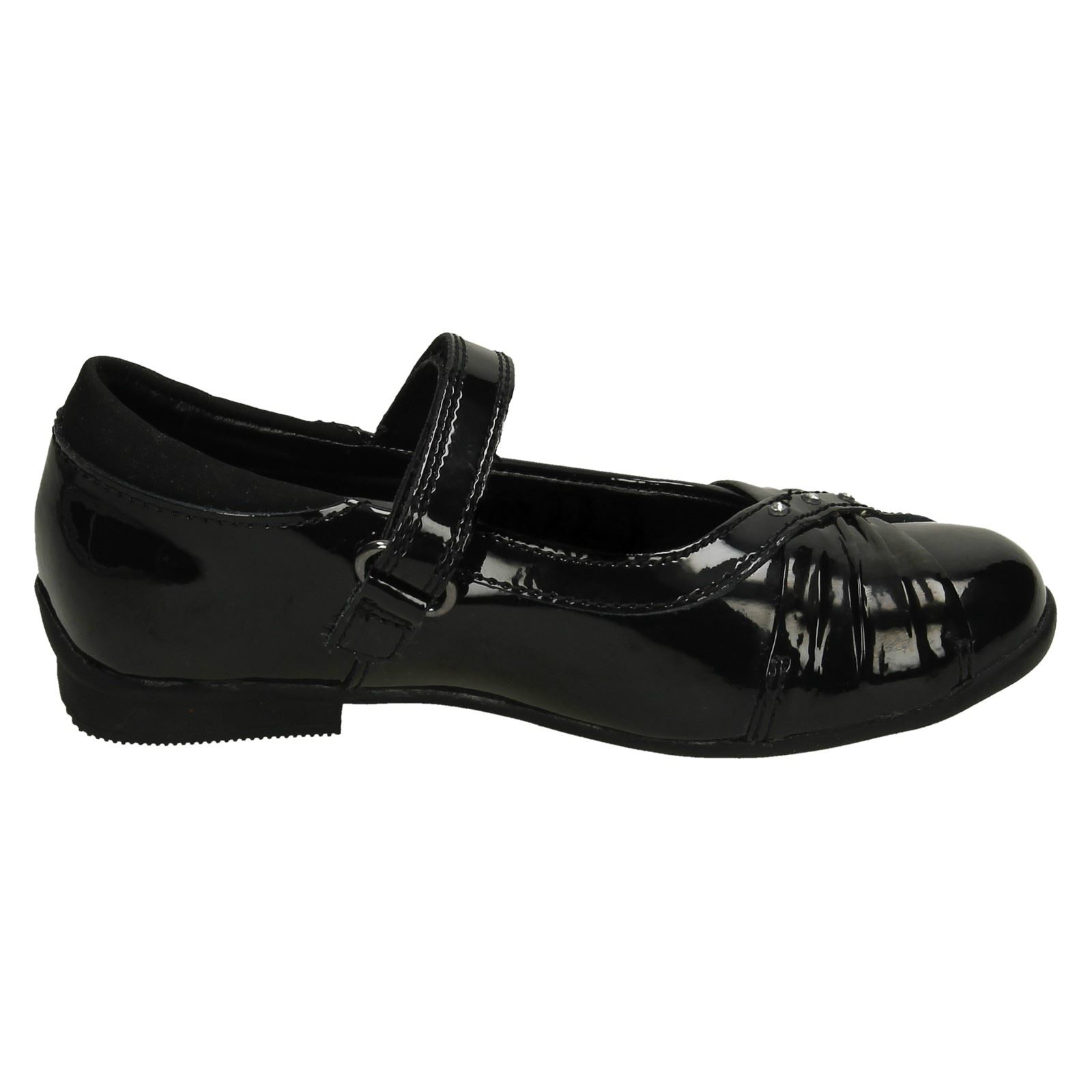 Girls Clarks Leather / Patent Hook & Loop Diamante School Shoes Dolly Shy