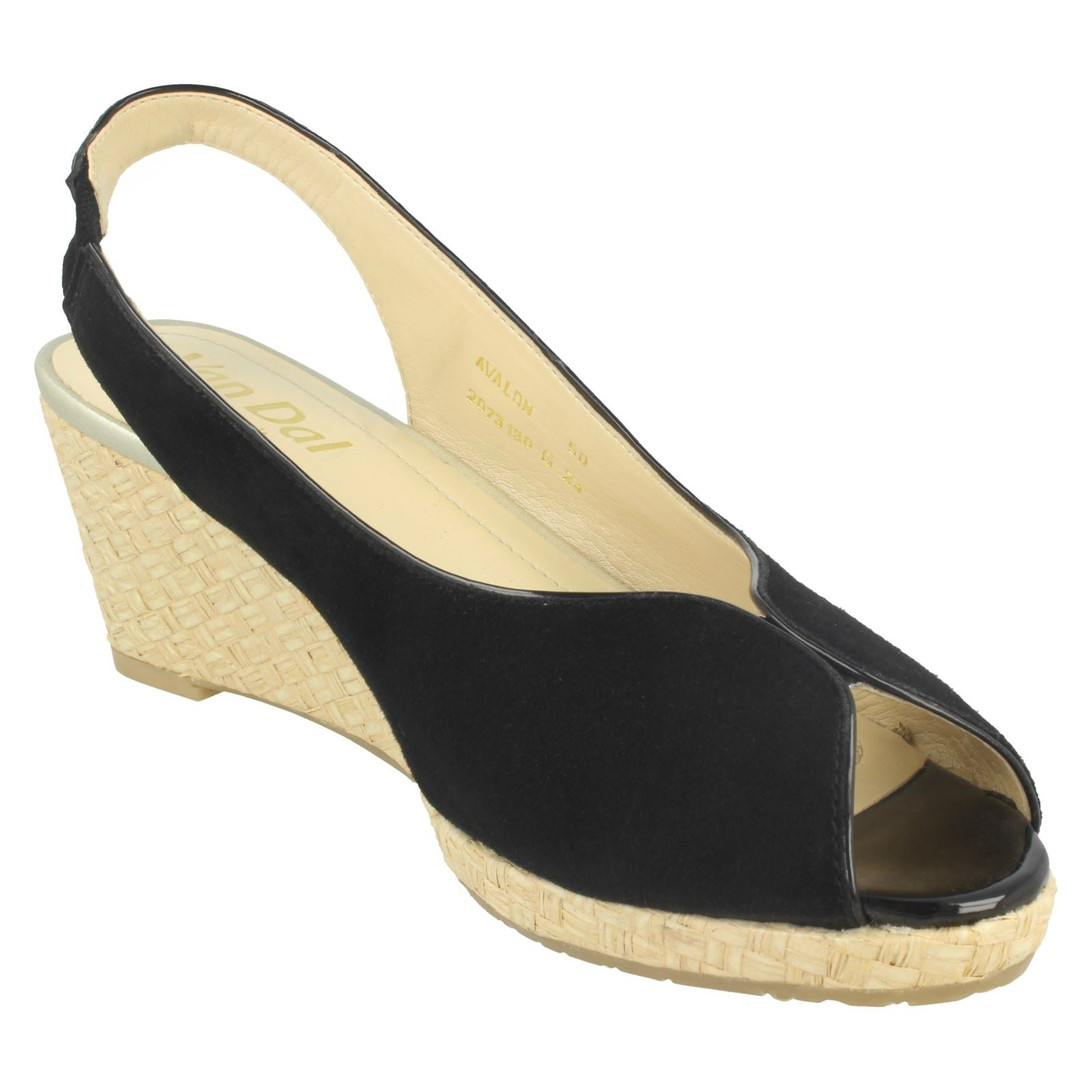 Ladies-Van-Dal-Leather-Wedge-Sandal-With-Woven-Detail-Avalon thumbnail 9