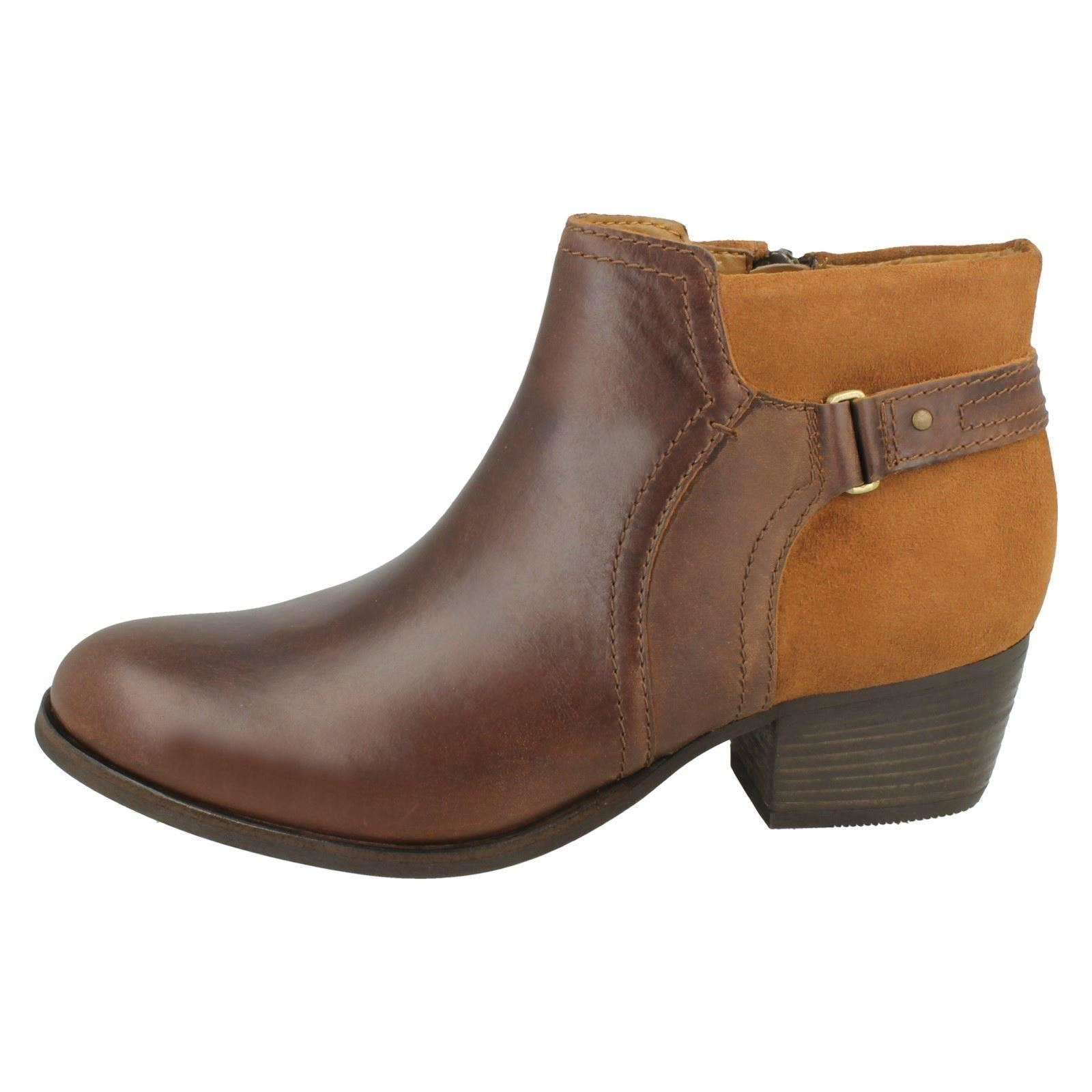 Ladies Clarks Casual Zip Up Leather Heeled Ankle Boots Maypearl Alice