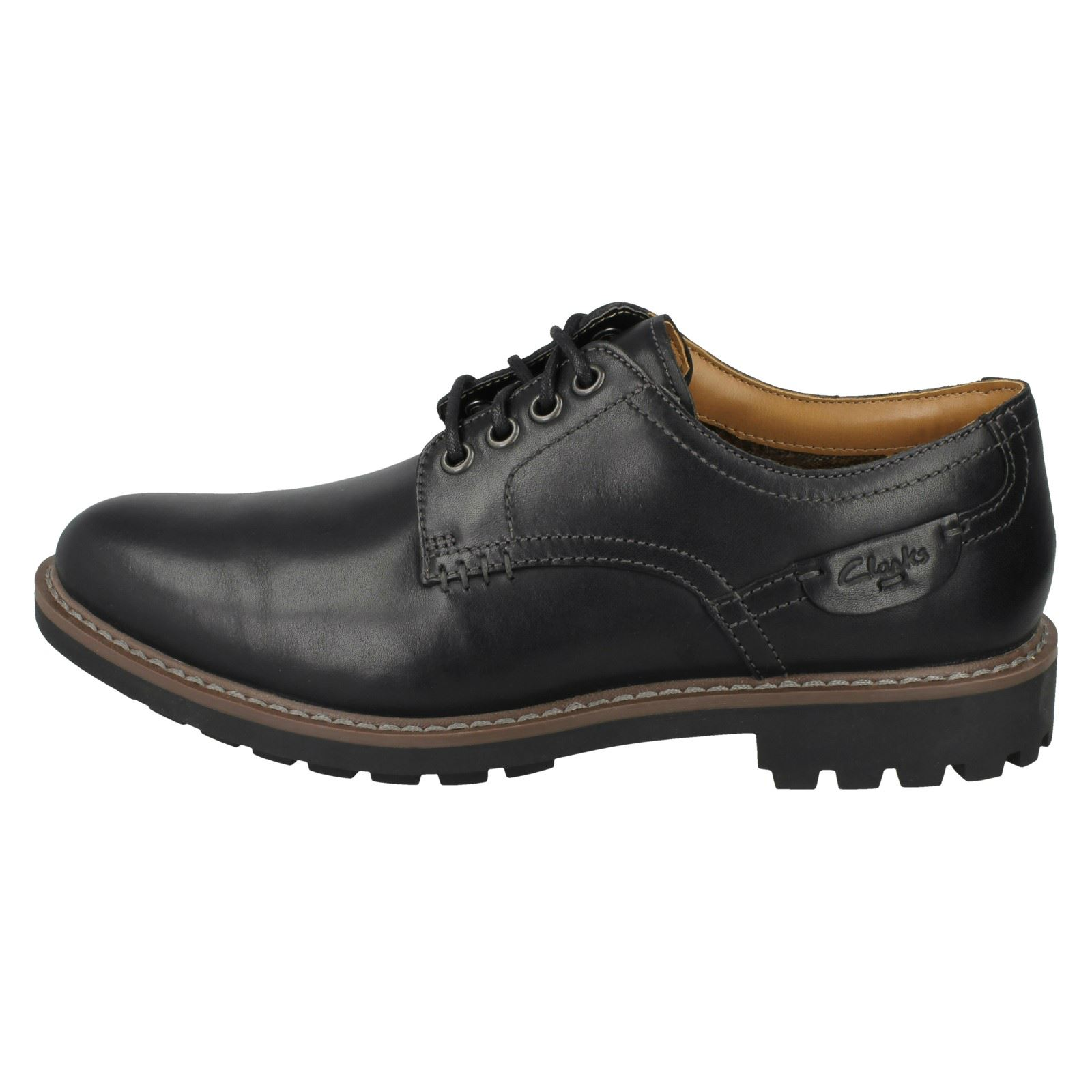CLARKS MENS MAXIM EDGE NAVY LEATHER LACE UP SHOES SIZE 8,9,10,12 G