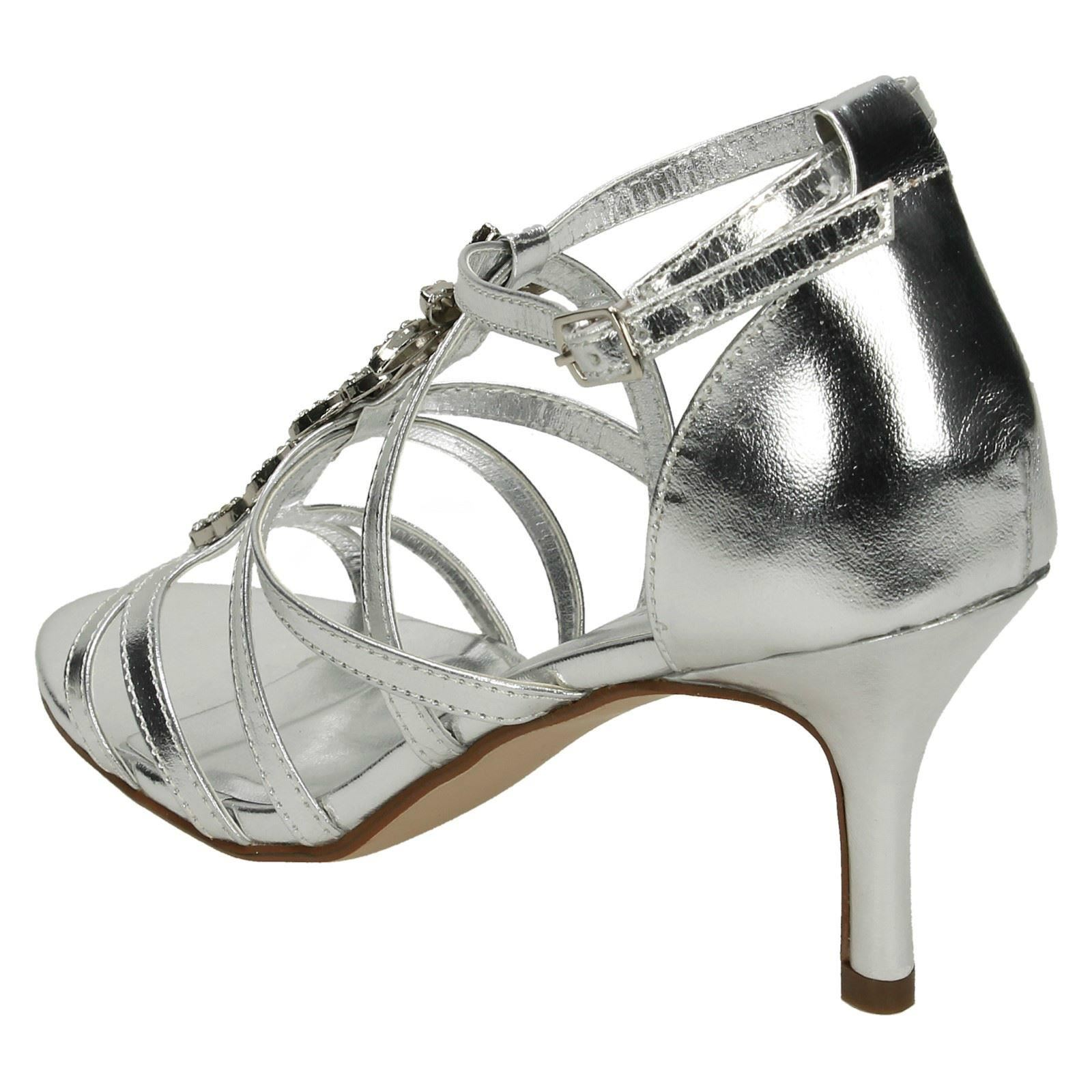 012d269f0cc Ladies Anne Michelle Mid Heel Strappy Sandals F10582 Silver UK 8 Standard.  About this product. Picture 1 of 10  Picture 2 of 10  Picture 3 of 10   Picture 4 ...