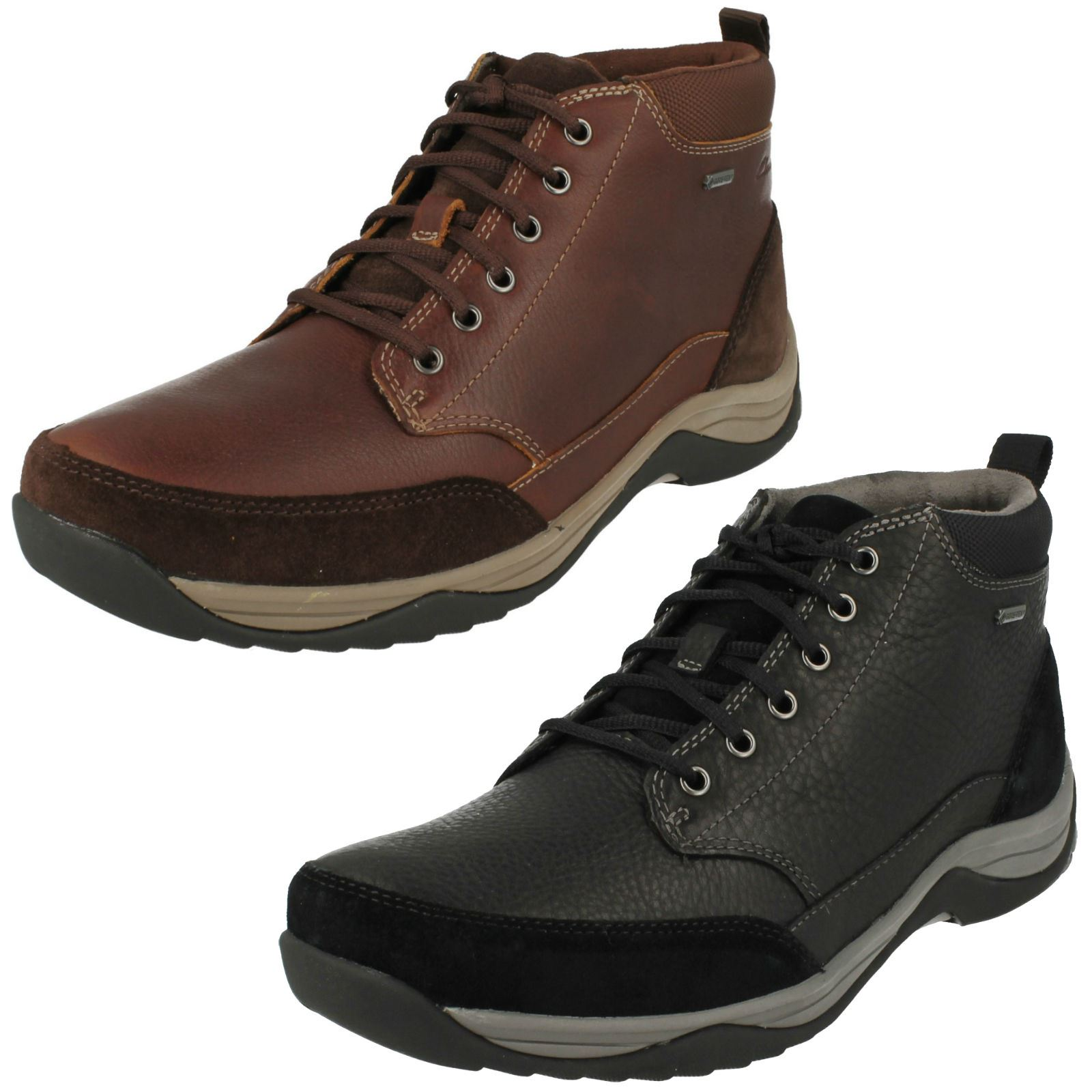 Details about Mens Clarks Goretex Leather Waterproof Lace Up Boots Baystone Top GTX