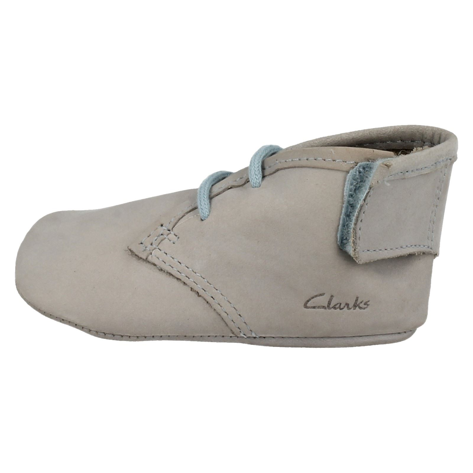 Little Boys Clarks Leather Lace And Riptape Pram Shoes Baby Warm
