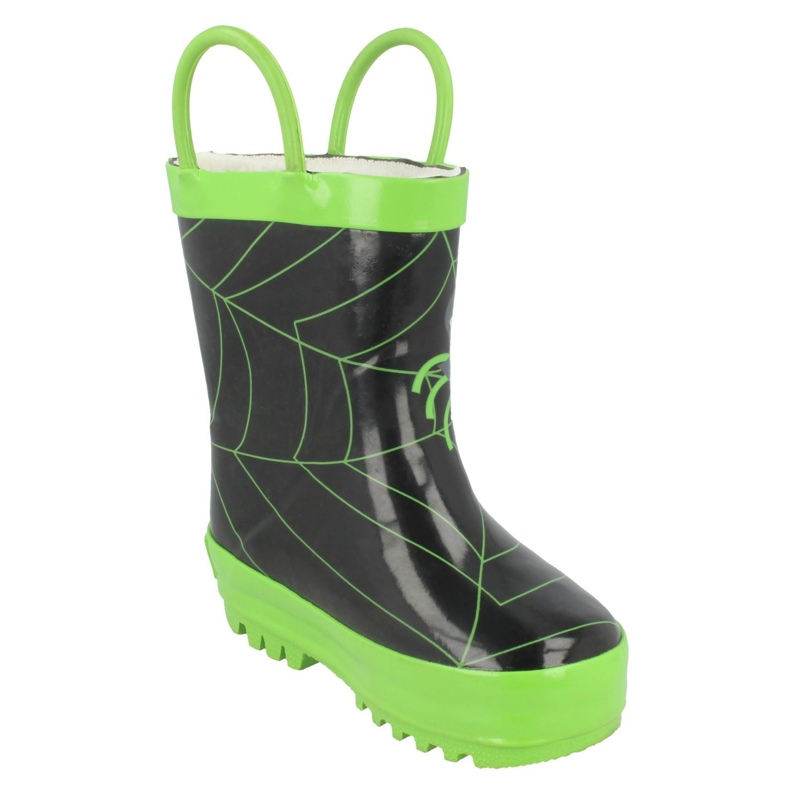 Boys Startrite Spider Design Wellingtons Spider Glow