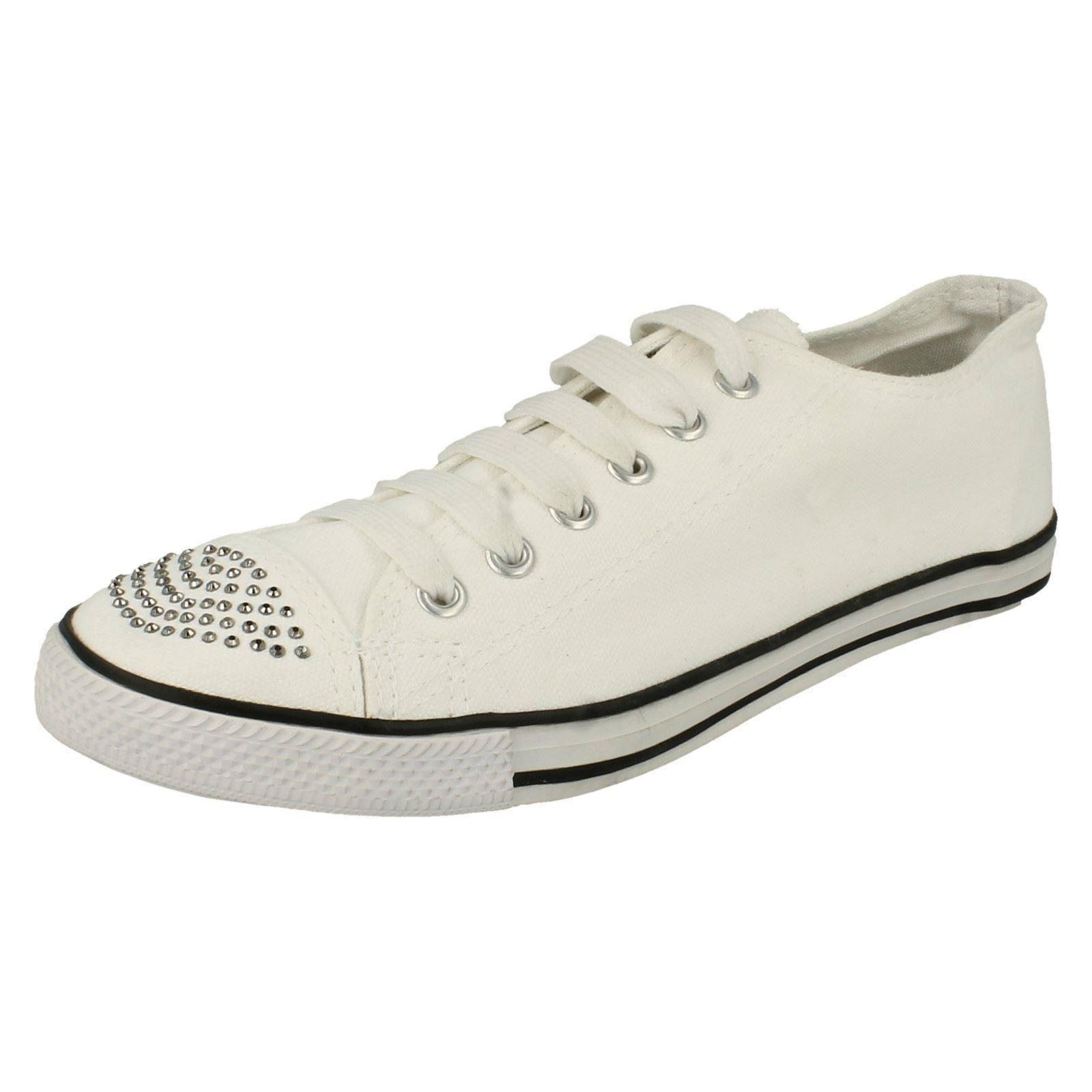Damas Spot On Con Cordones Casual de Lona Zapatos-F8955
