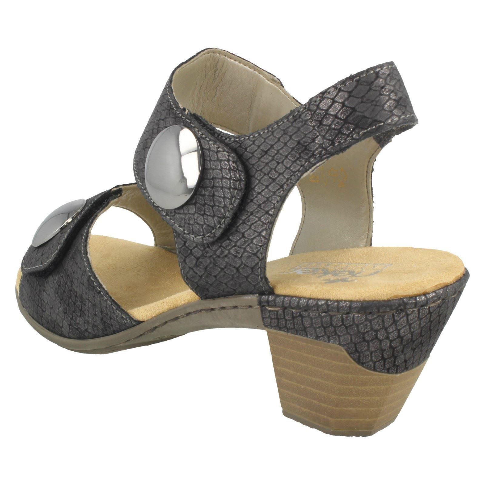 Ladies Ladies Ladies Rieker Medium Heel Hook & Loop Sandals 67369 c048bd