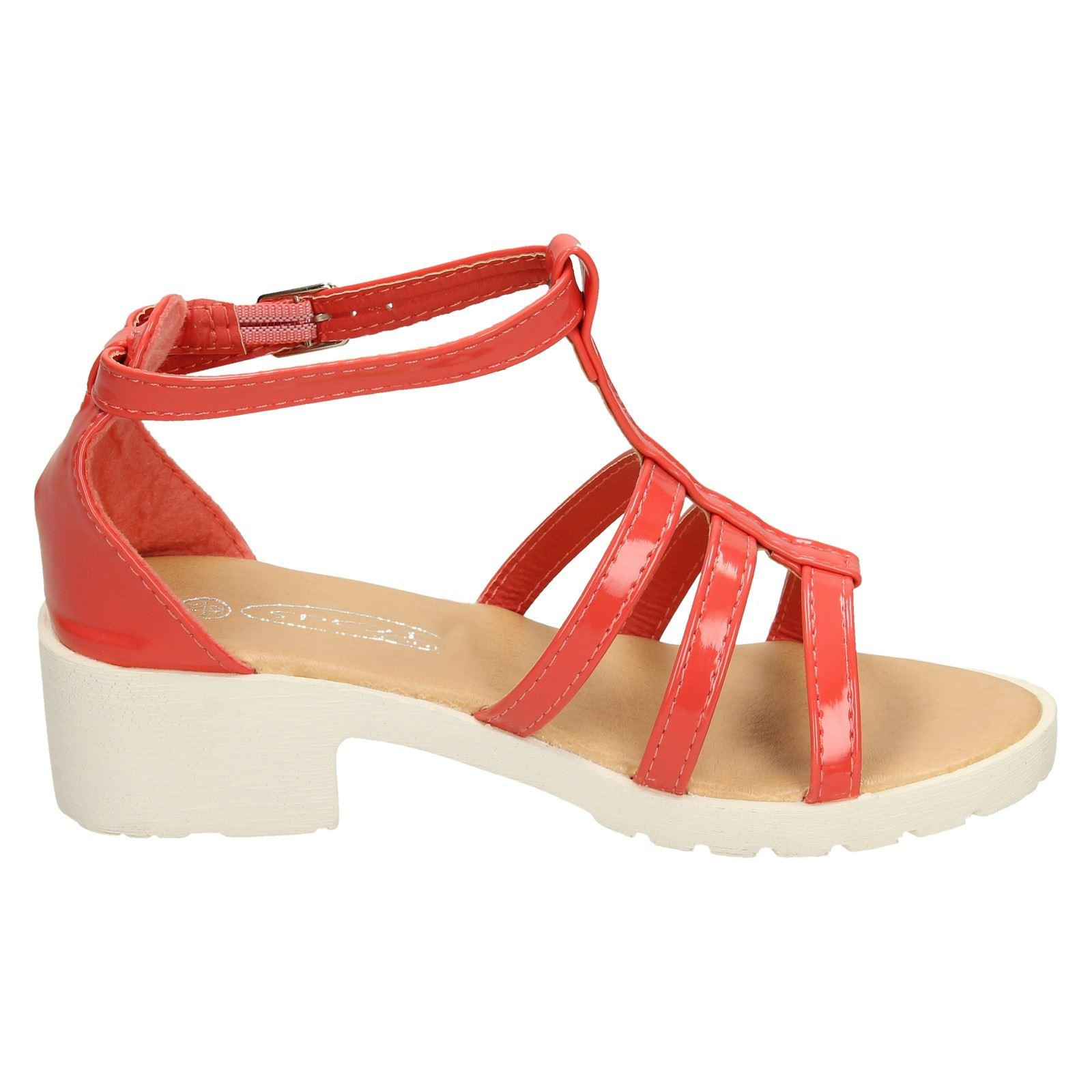 Girls Spot On Open Toe Low Heeled Sandals