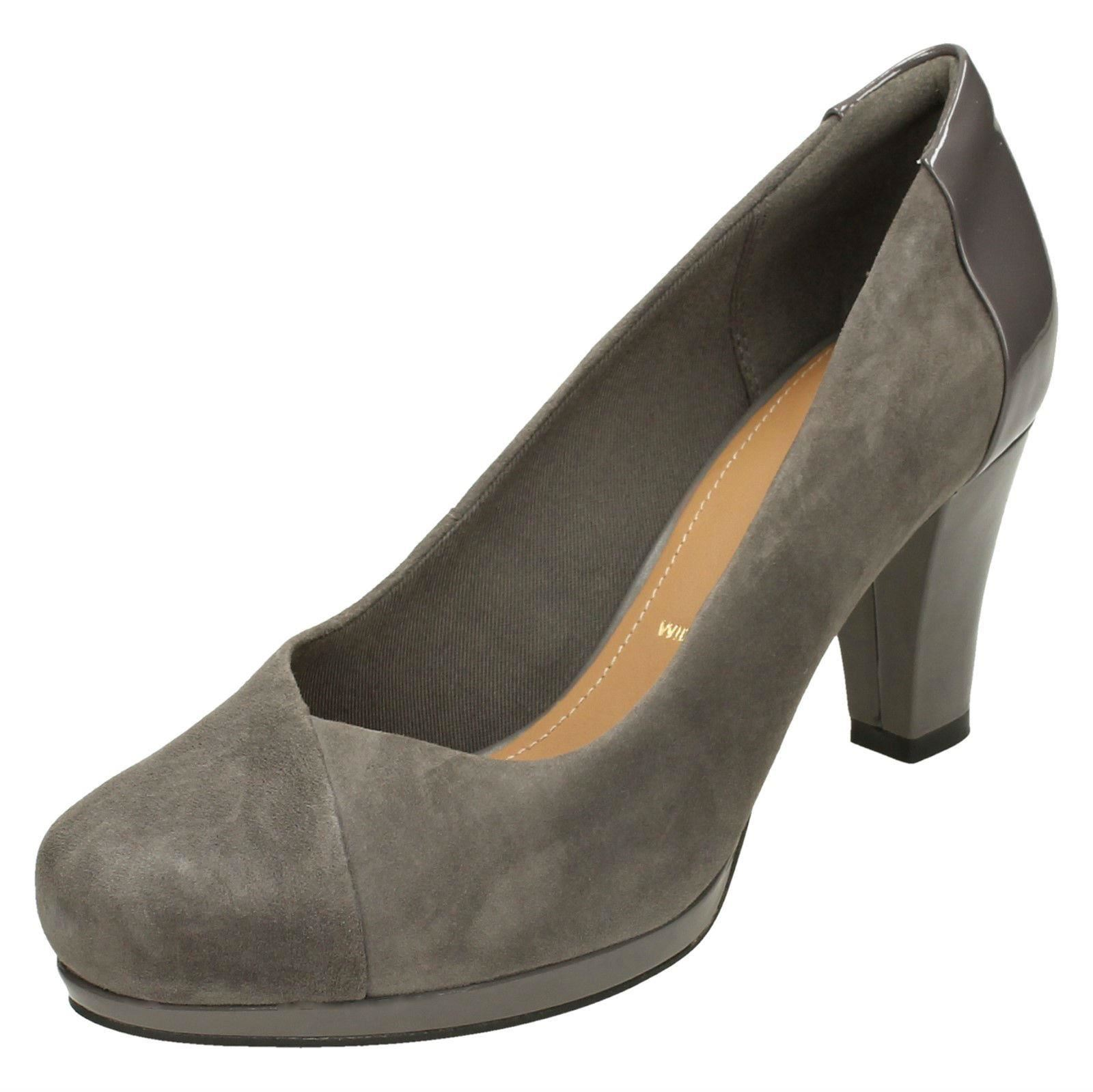 a3b9e2beda4b Ladies Clarks Heeled Court Shoes  chorus Carol  Dark Grey (grey) UK ...