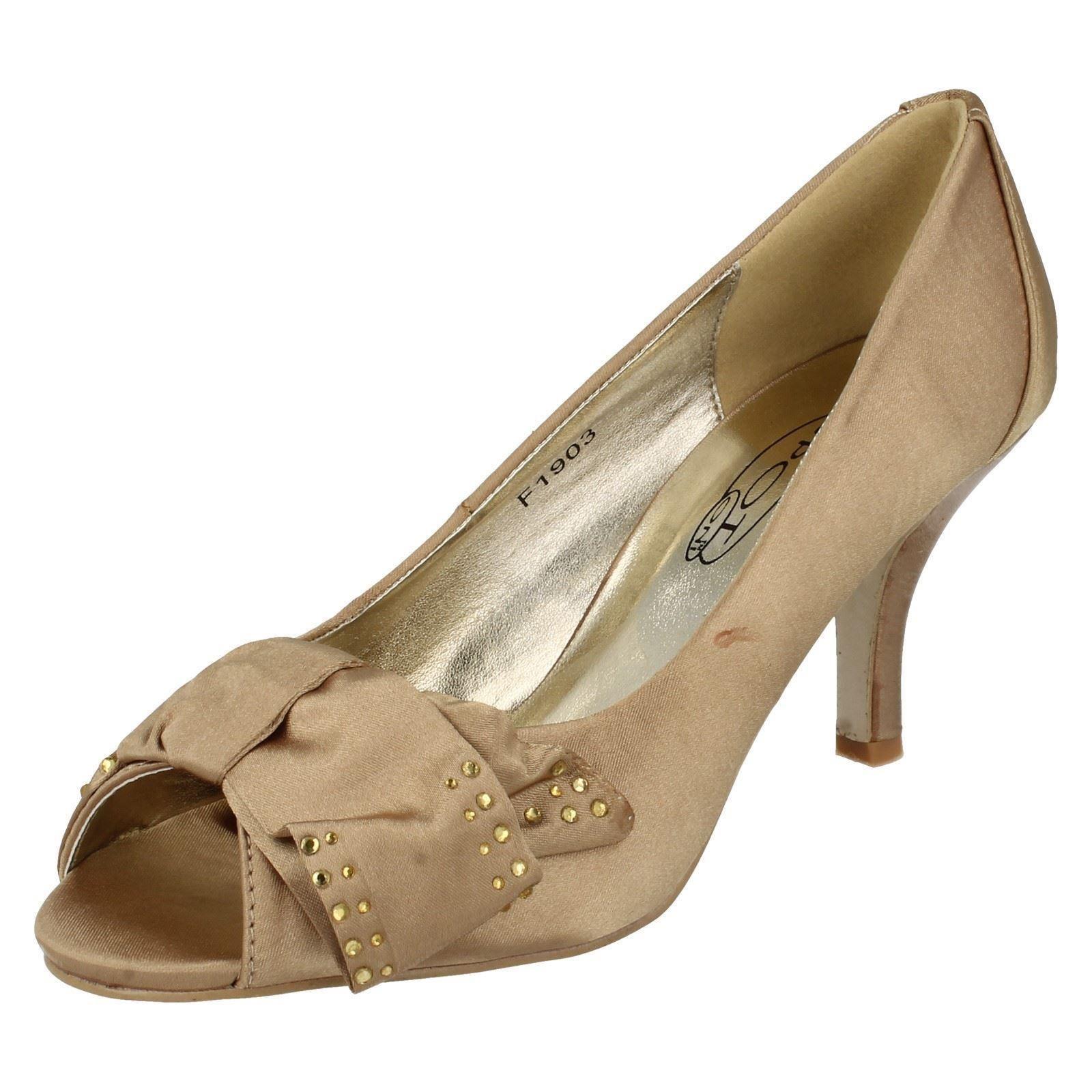 Damas Spot On Puntera Abierta Con Detalle De Moño Diamante Court Shoe