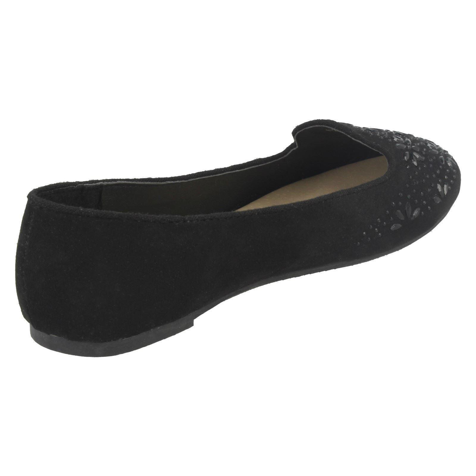 Niñas Punto En Microfibra Joya Adorno De Flor Bailarinas Zapatos