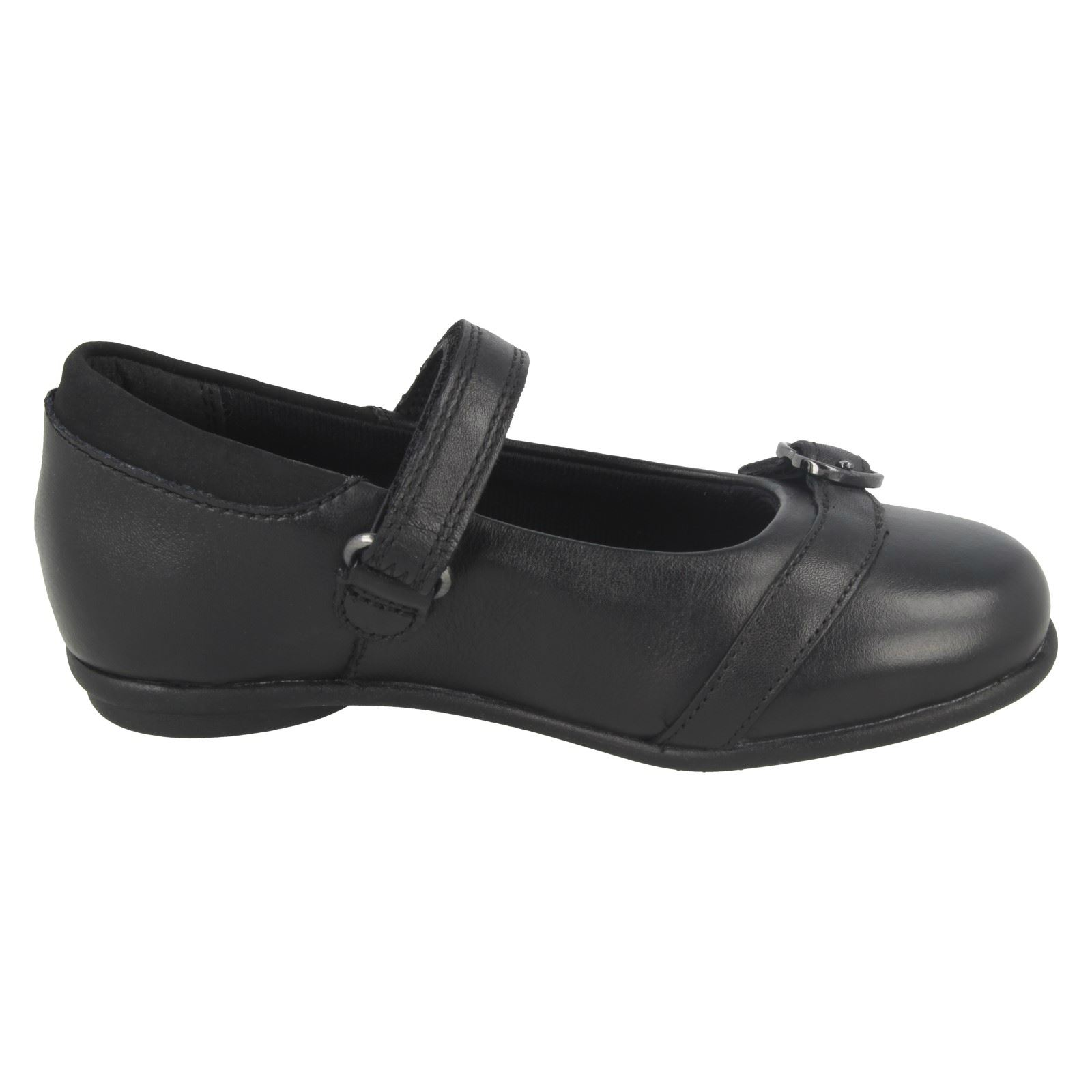 Girls Clarks Mary Jane Style Hook & Loop Heart Buckle School Shoes Tasha Bay