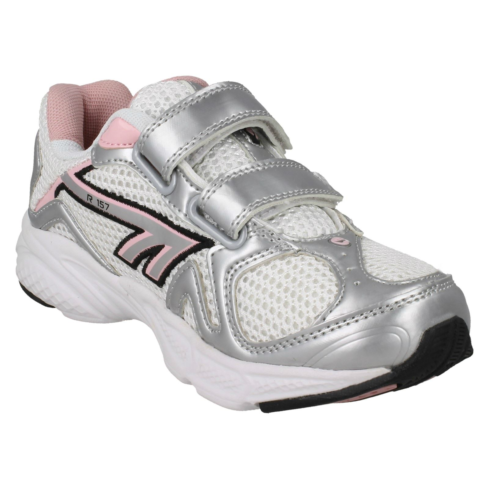 CHILDS HI TEC WHITE//SILVER//CANDY HOOK /& LOOP TRAINER STYLE R157 JRG EZ